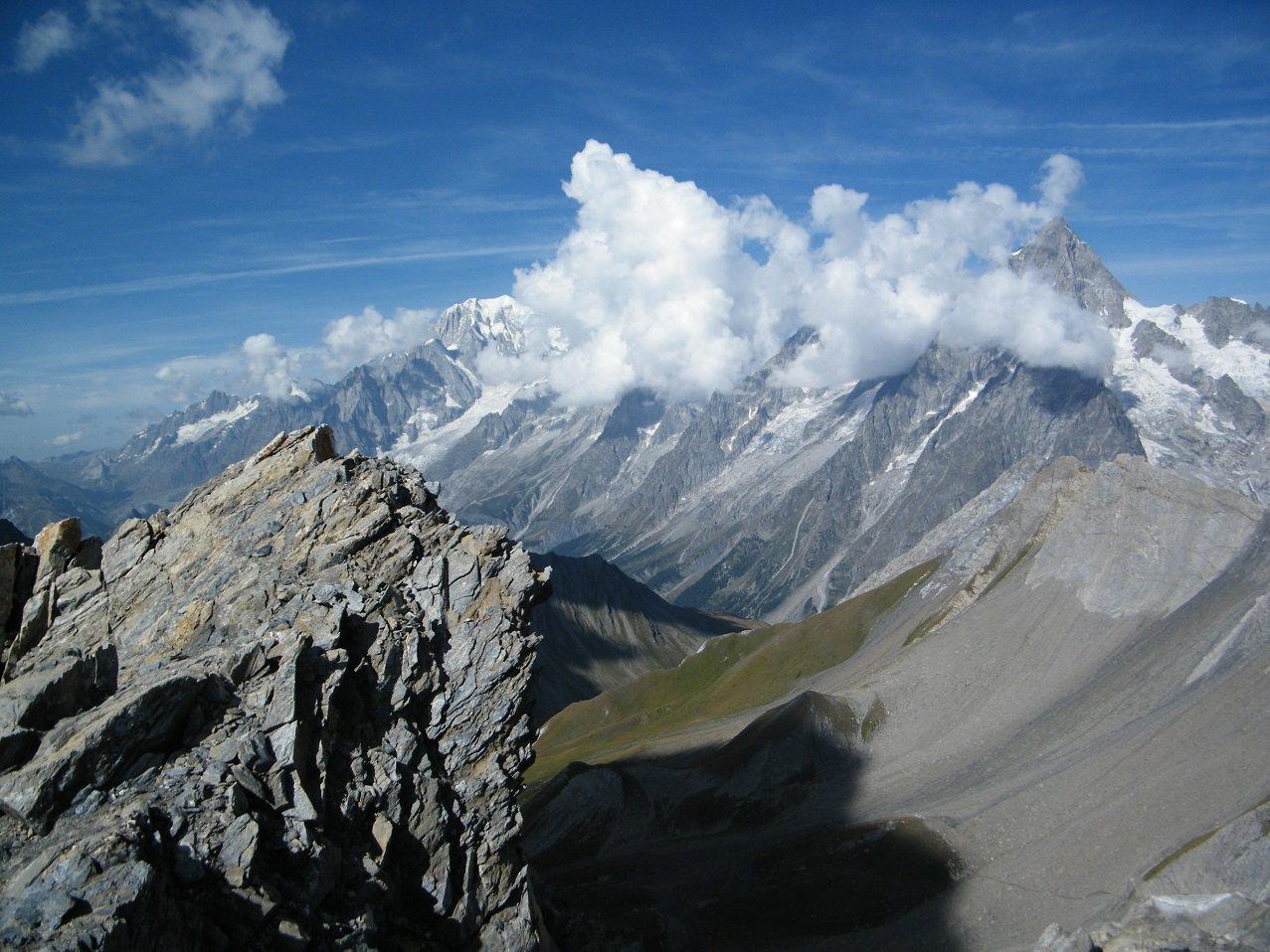 Panorama dalla cima sul gruppo del Monte BIanco