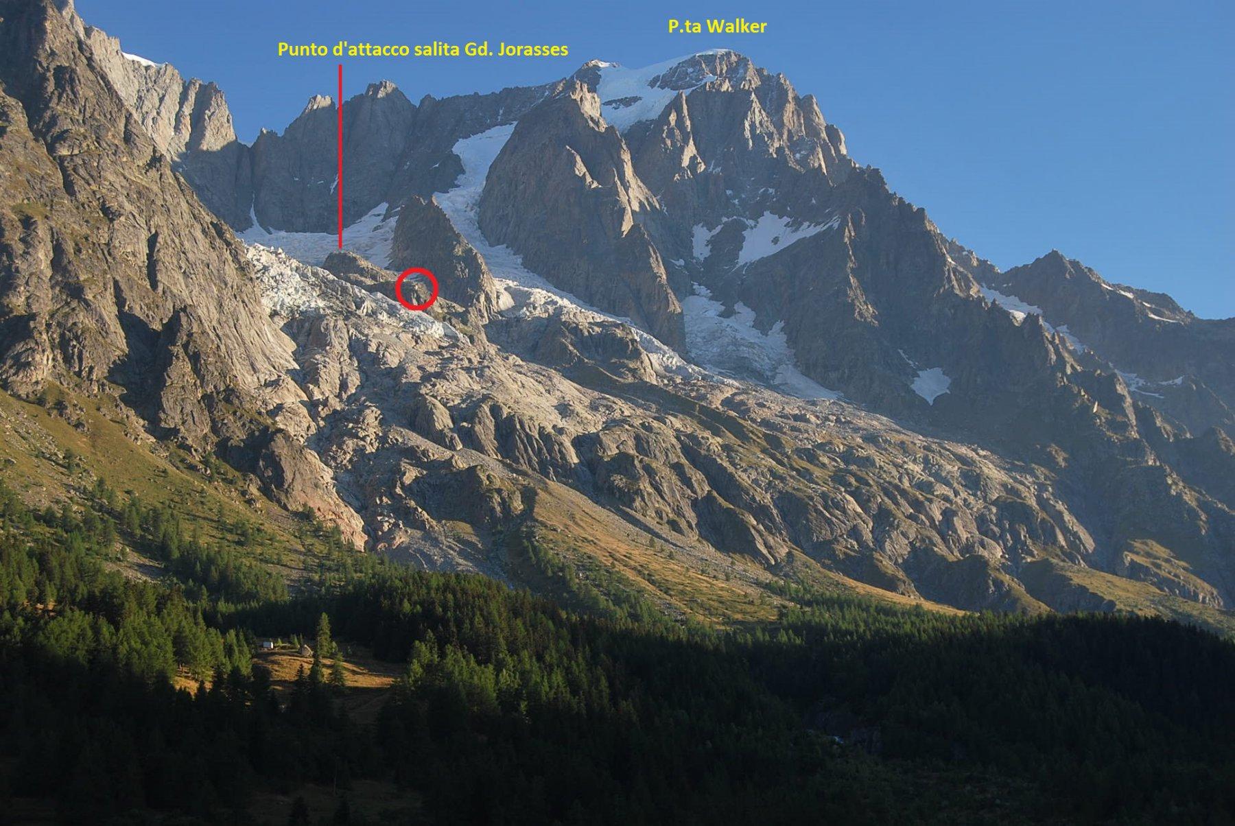 Lo scenario ed un piccolissimo rifugio (nel circoletto) visti dalla Casa-vacanze del CAI Cameri