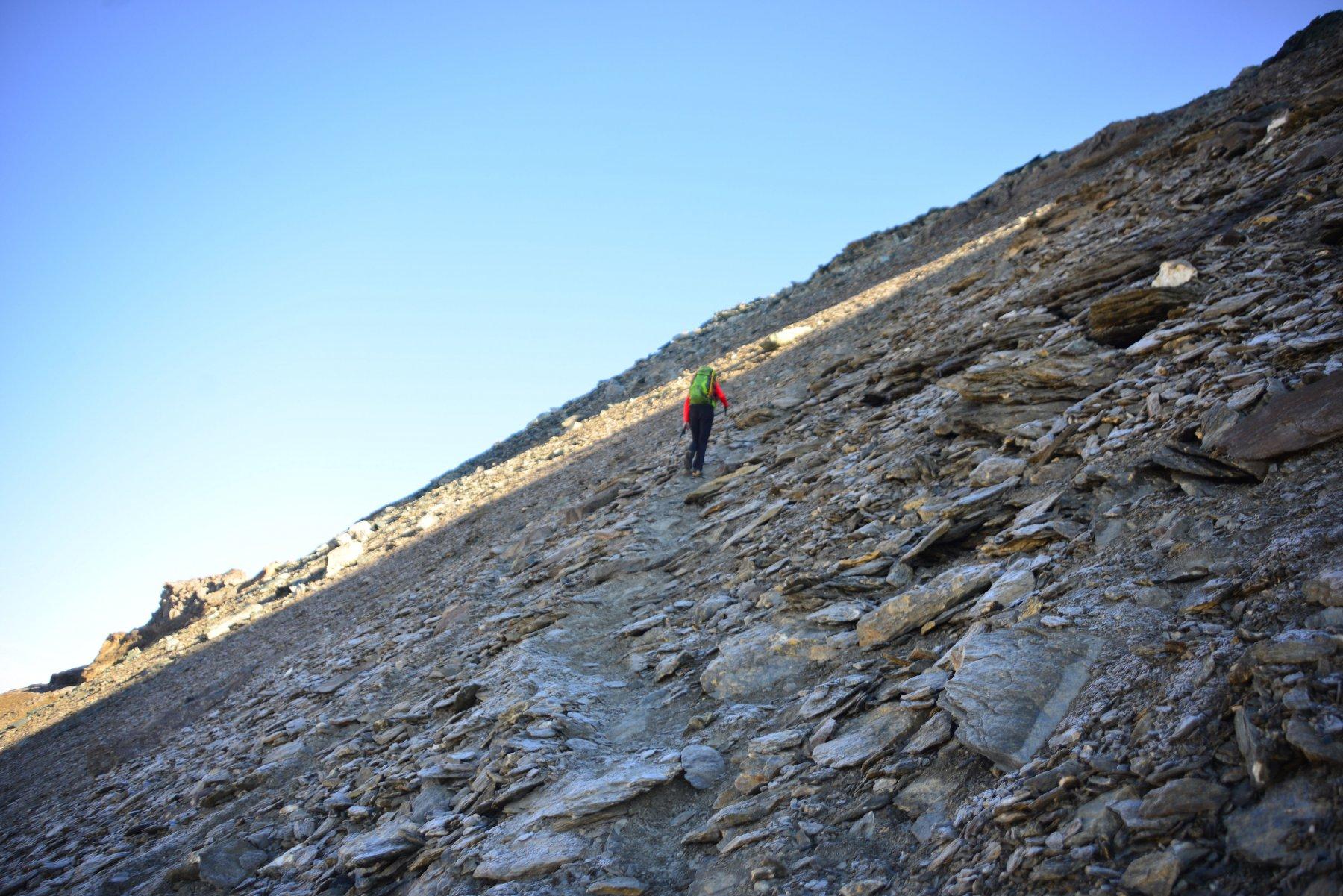 salita canalone sopra al ghiacciaio