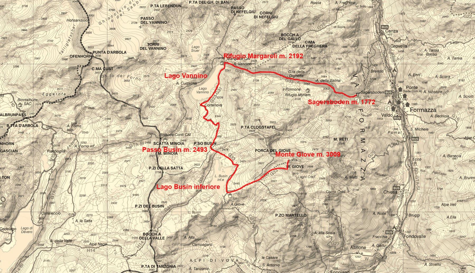 stralcio di carta topografica con l'itinerario di salita