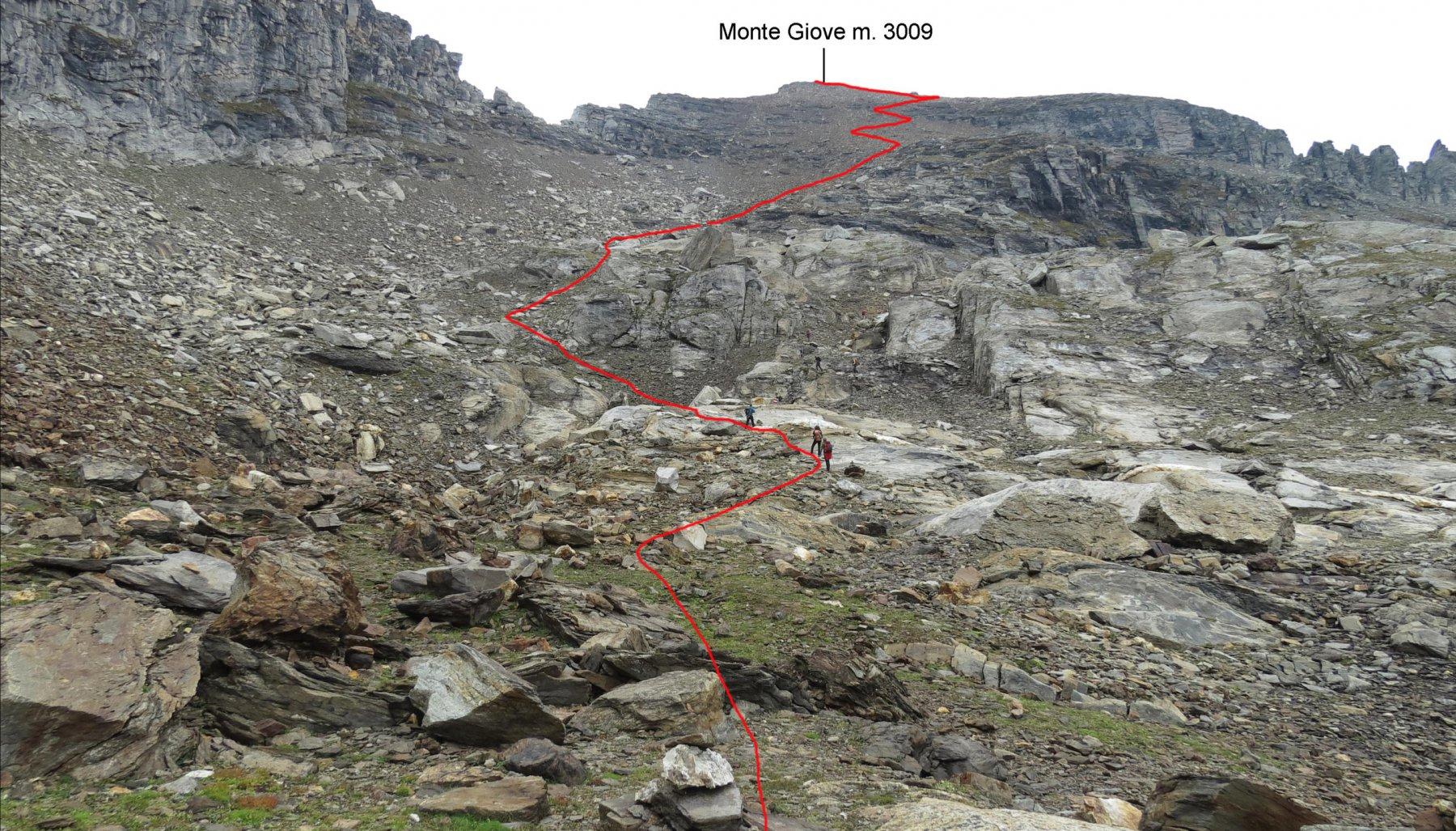ultima parte dell'itinerario di salita vista dalla conca terminale sotto la pietraia del versante Sud-Ovest del Giove