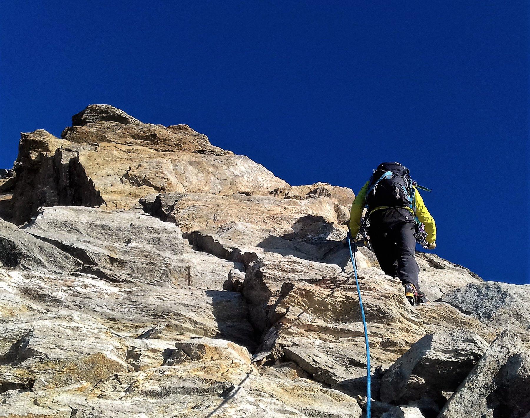 Uno dei tratti di arrampicata