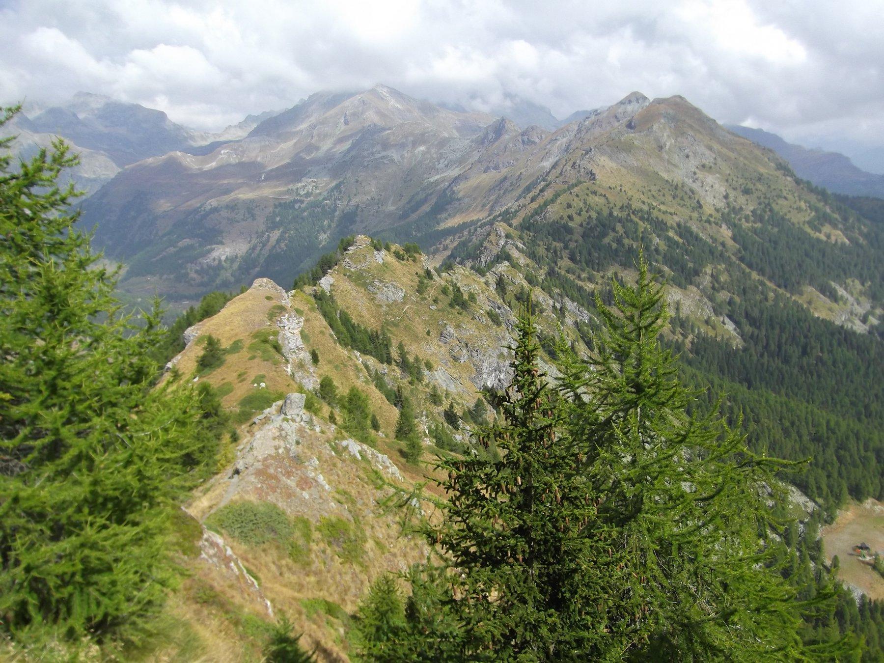 La cresta percorsa e in alto a dx il Monte Meabe'.