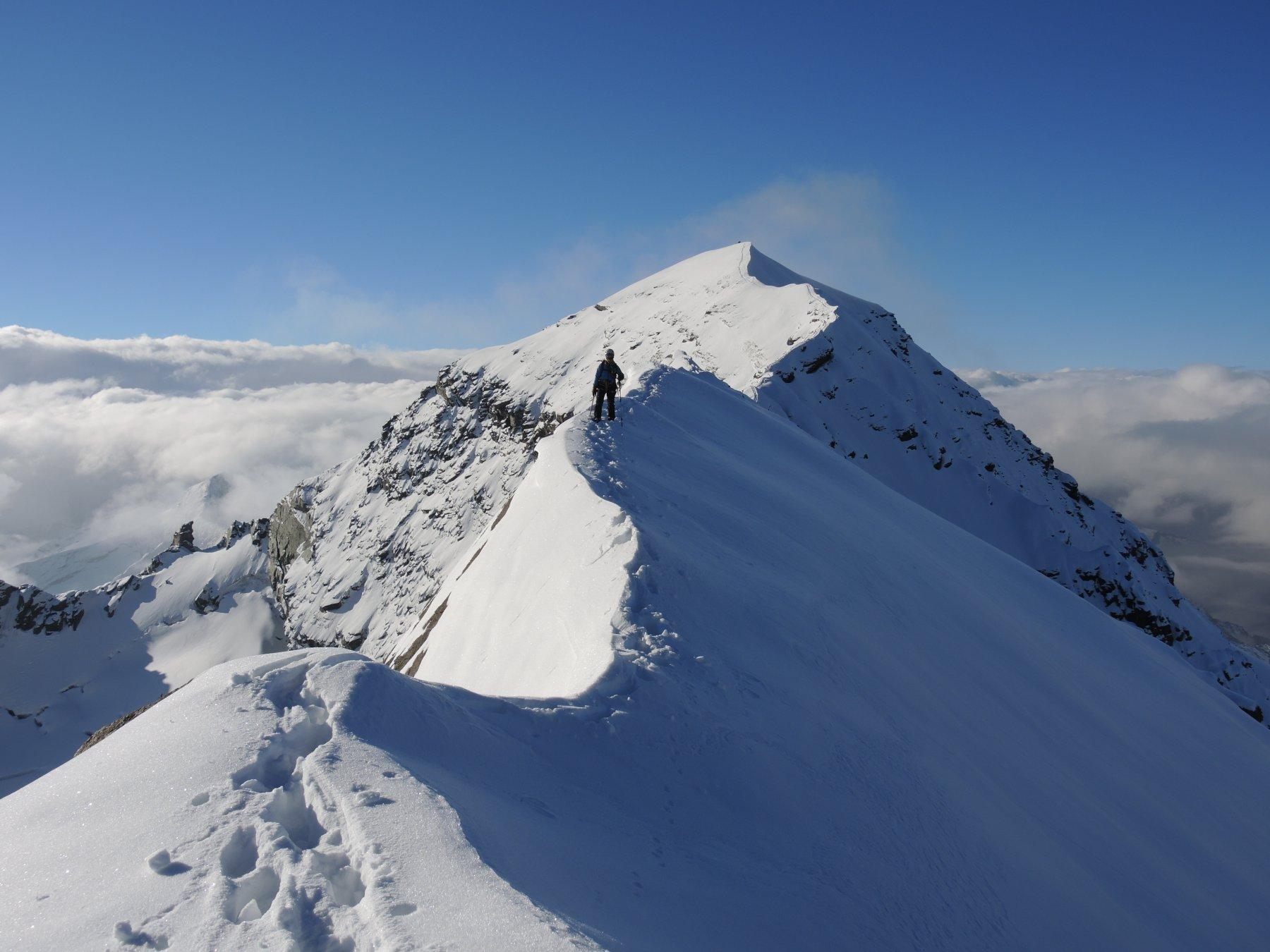 La cresta tra la Bianca e la parete sud-ovest della Grivola