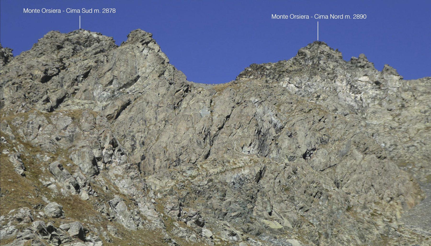 le due cime dell'Orsiera viste dal Lago Chardonnet