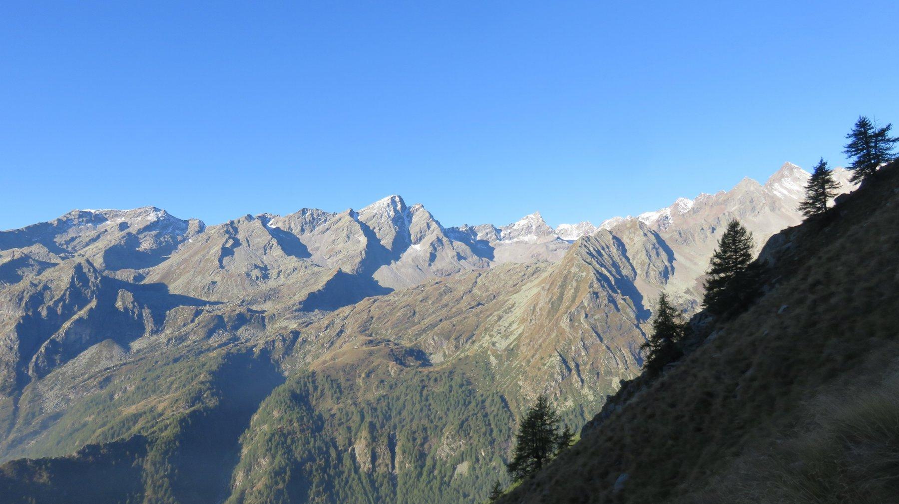 Panorama dai ripidi pendii erbosi sopra Peghiò