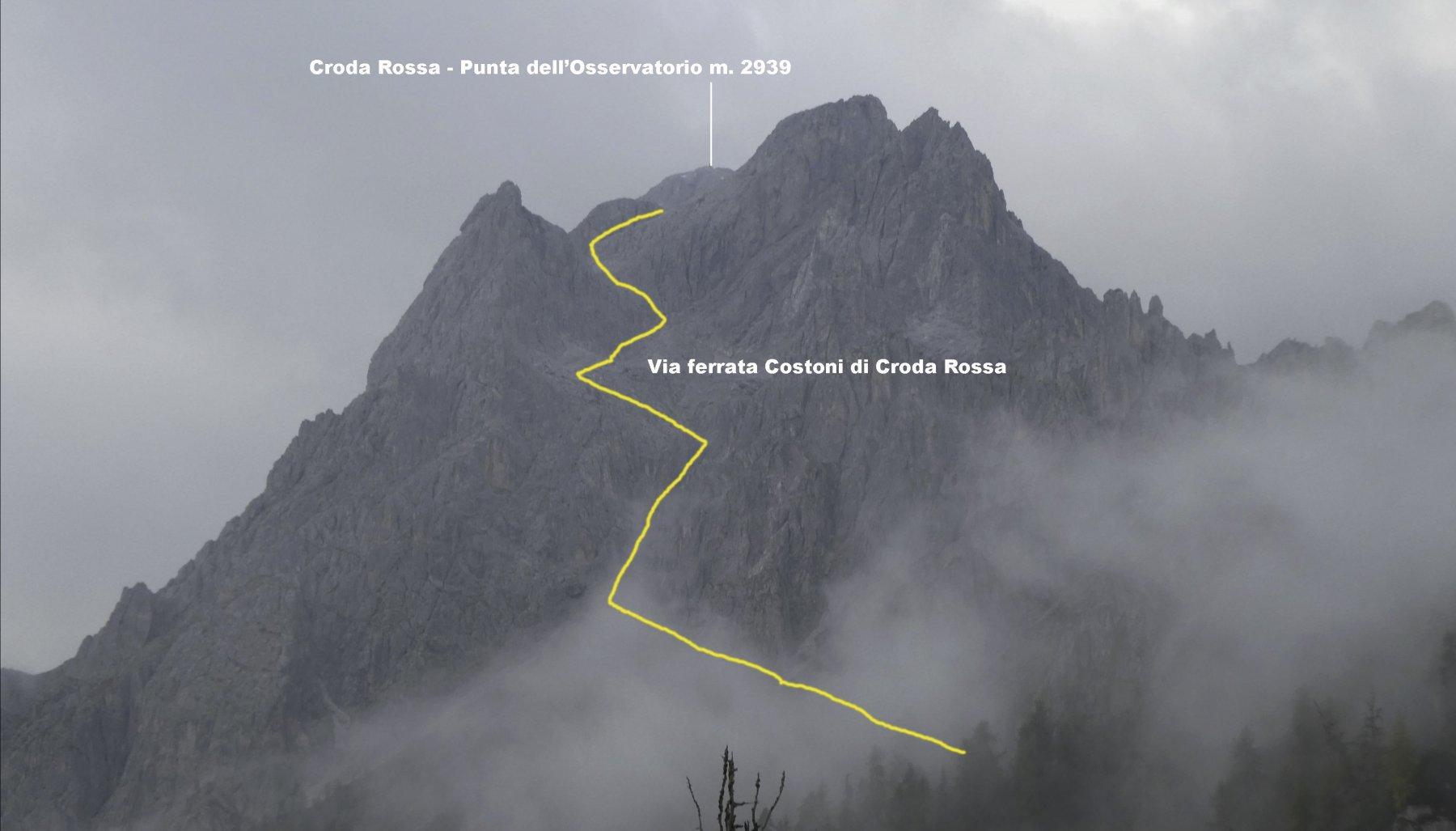 la parte alta dell'itinerario di salita per la cima