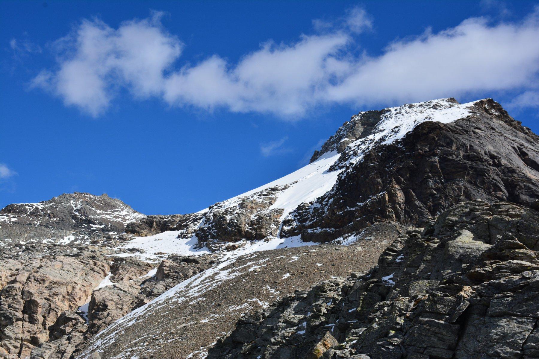 il versante di risalita  sul ghiacciaio Ferrand