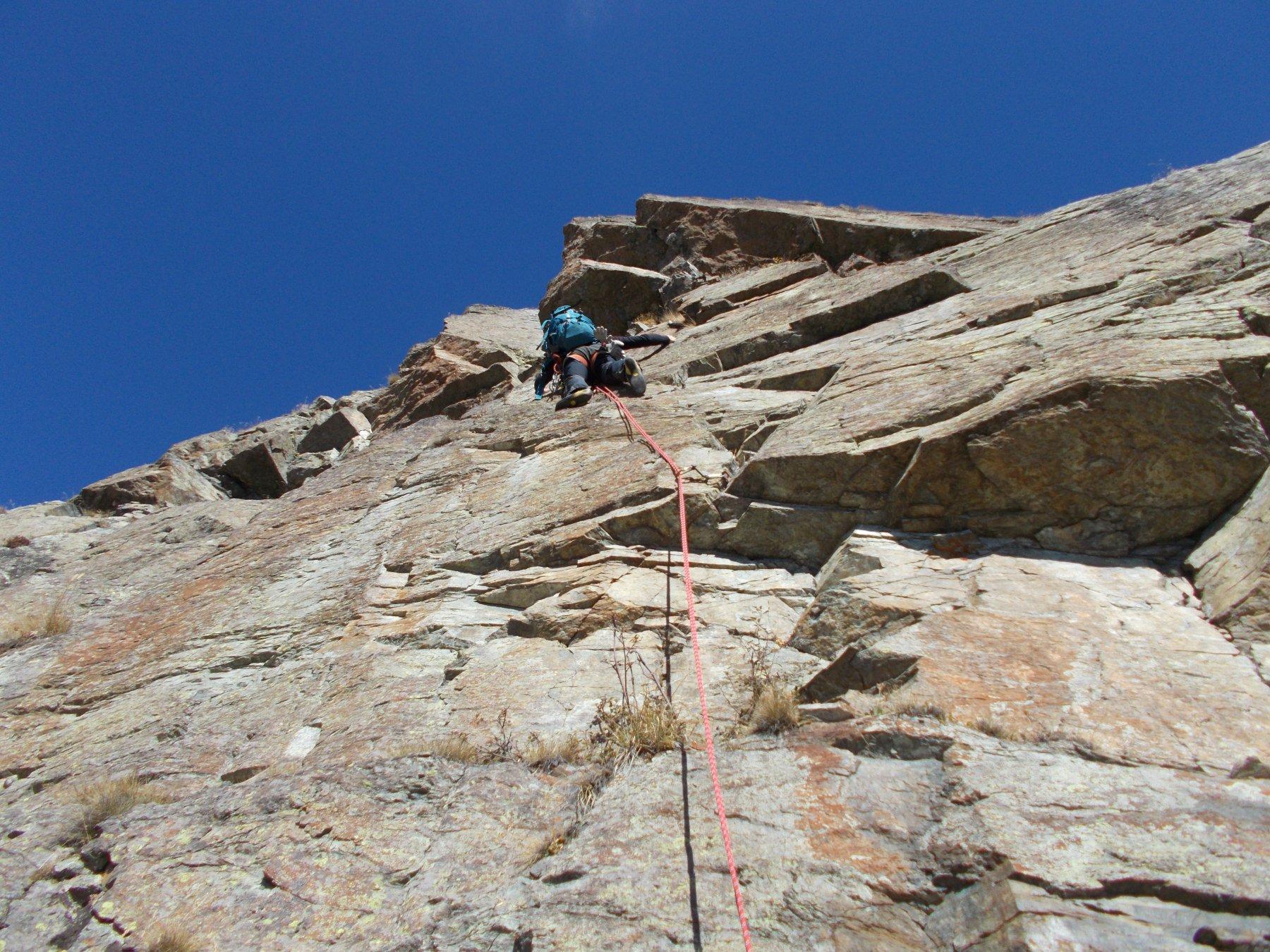 Franco in azione sul muro di V.. a meta' parete..
