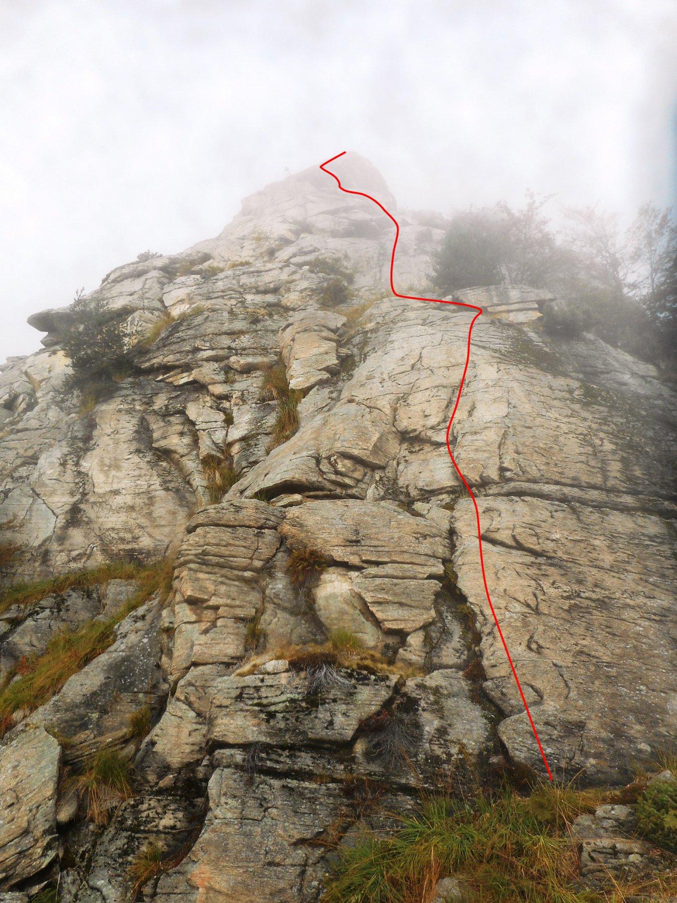 parte alta del torrione e percorso di massima