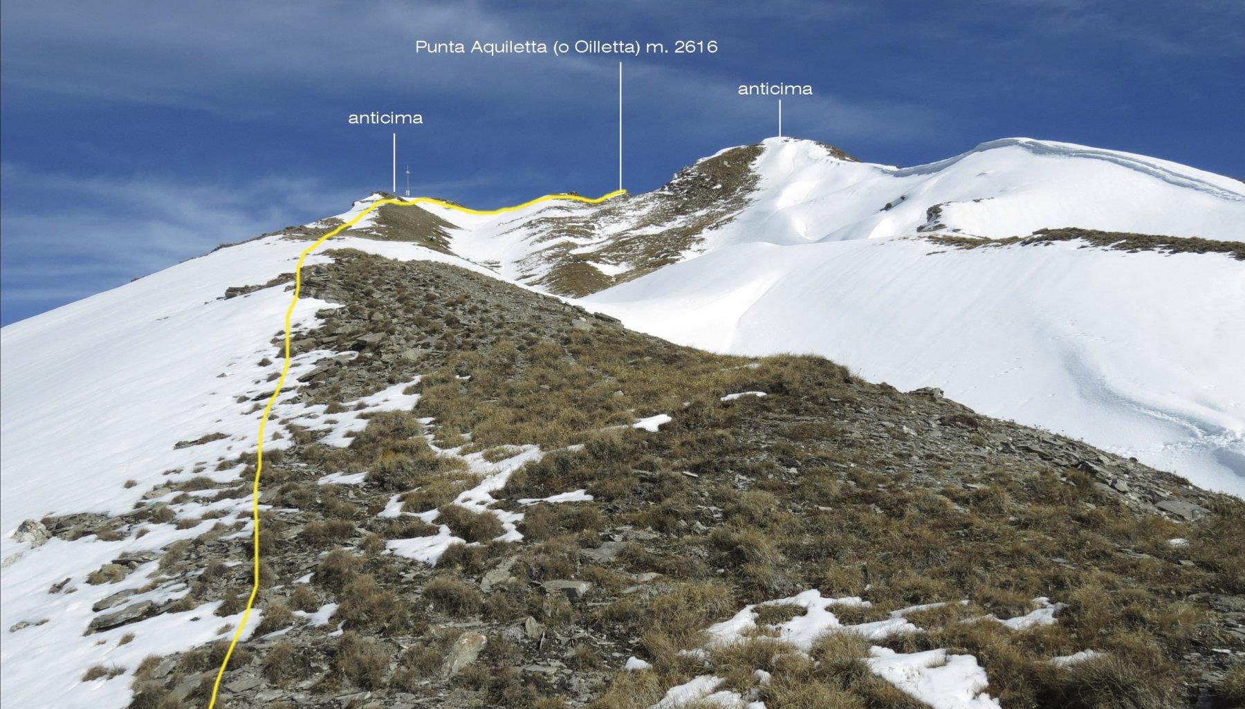 la parte finale dell'itinerario di salita per la cima