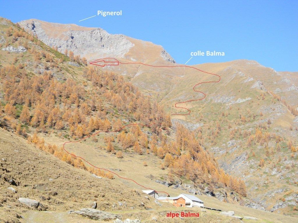 il Pignerol con la sua via di salita dall'alpe Bianca