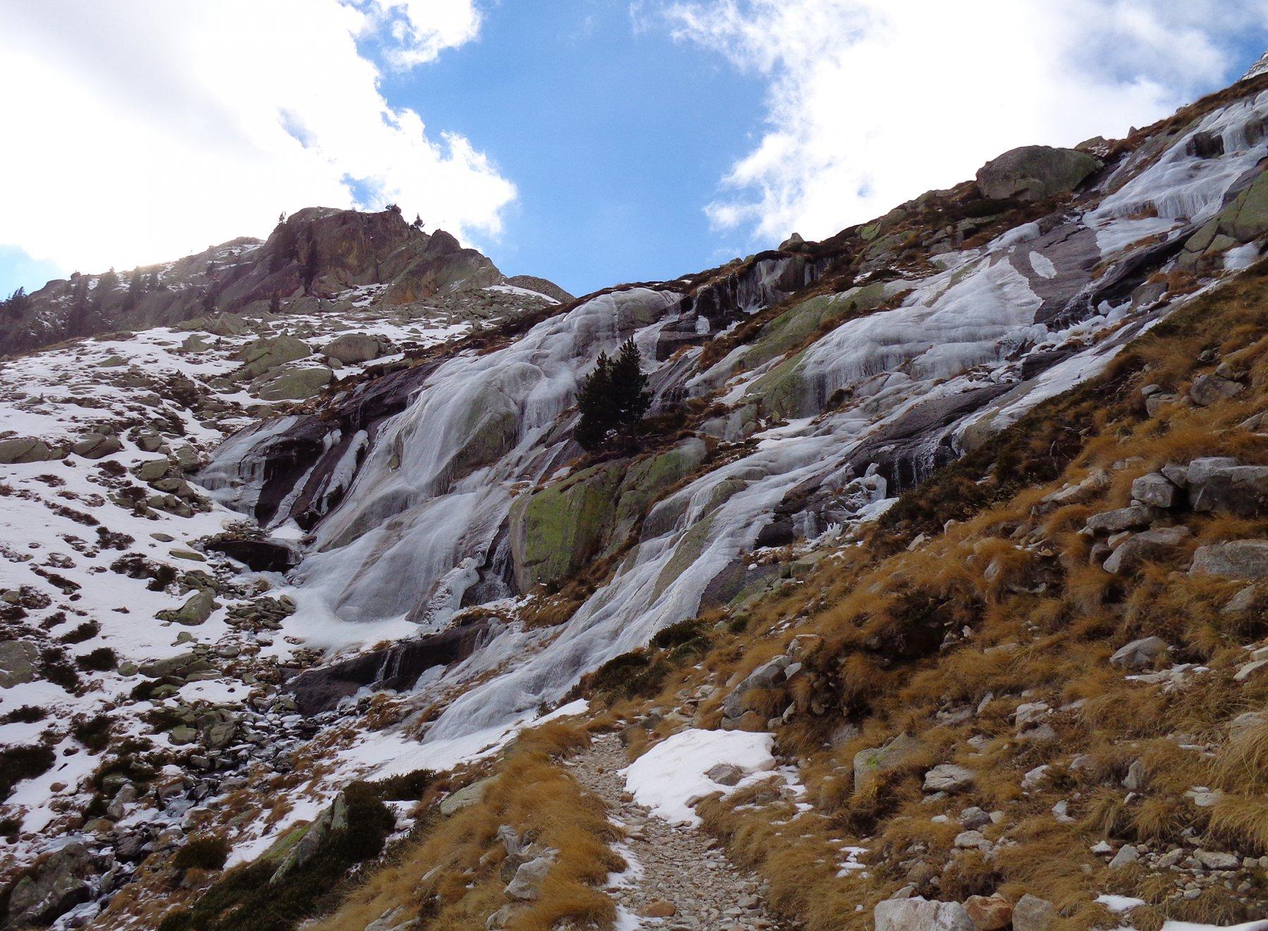 il ghiaccio sul sentiero verso i laghi
