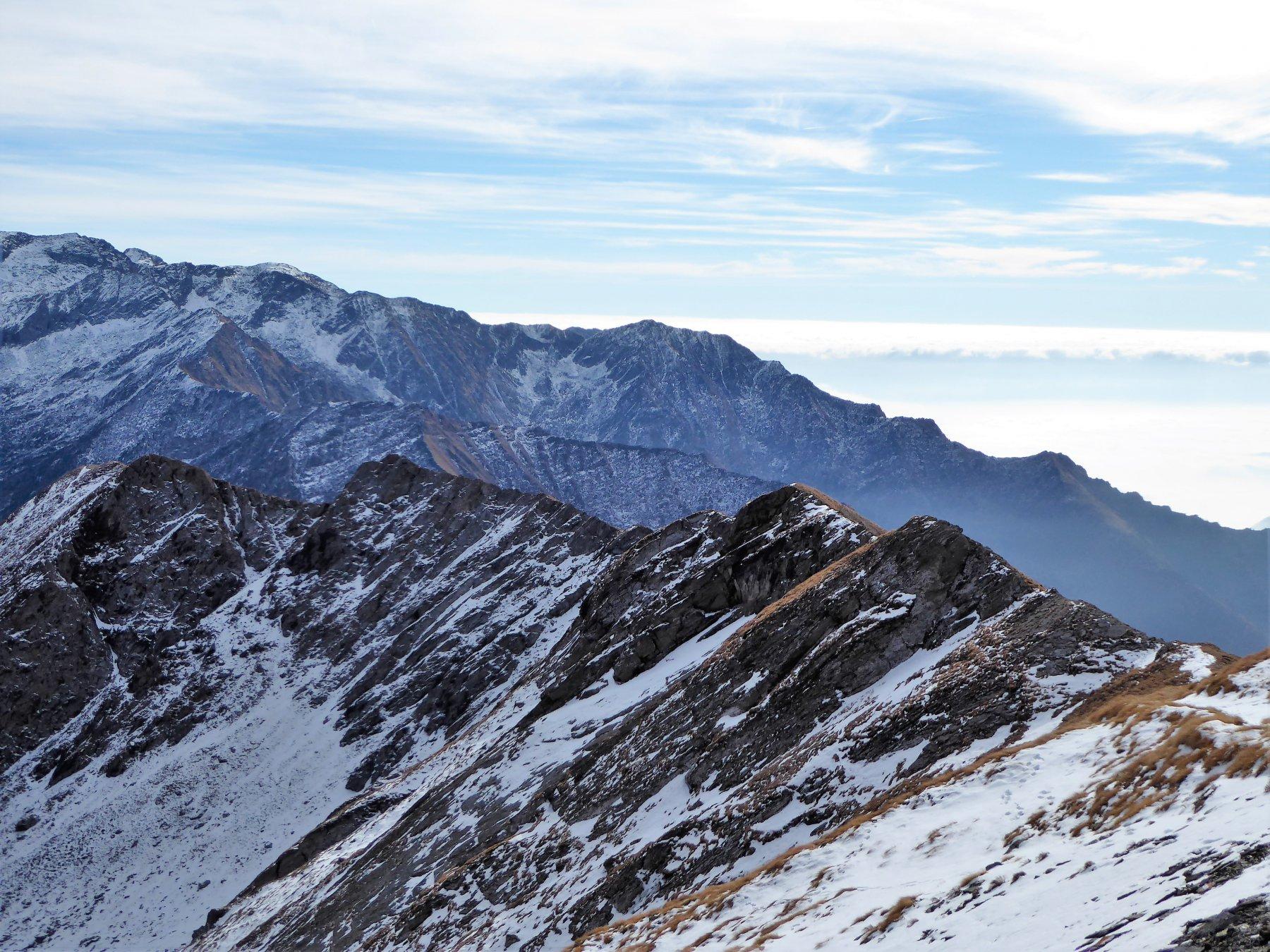 la cresta percorsa vista dal Colle della Borra