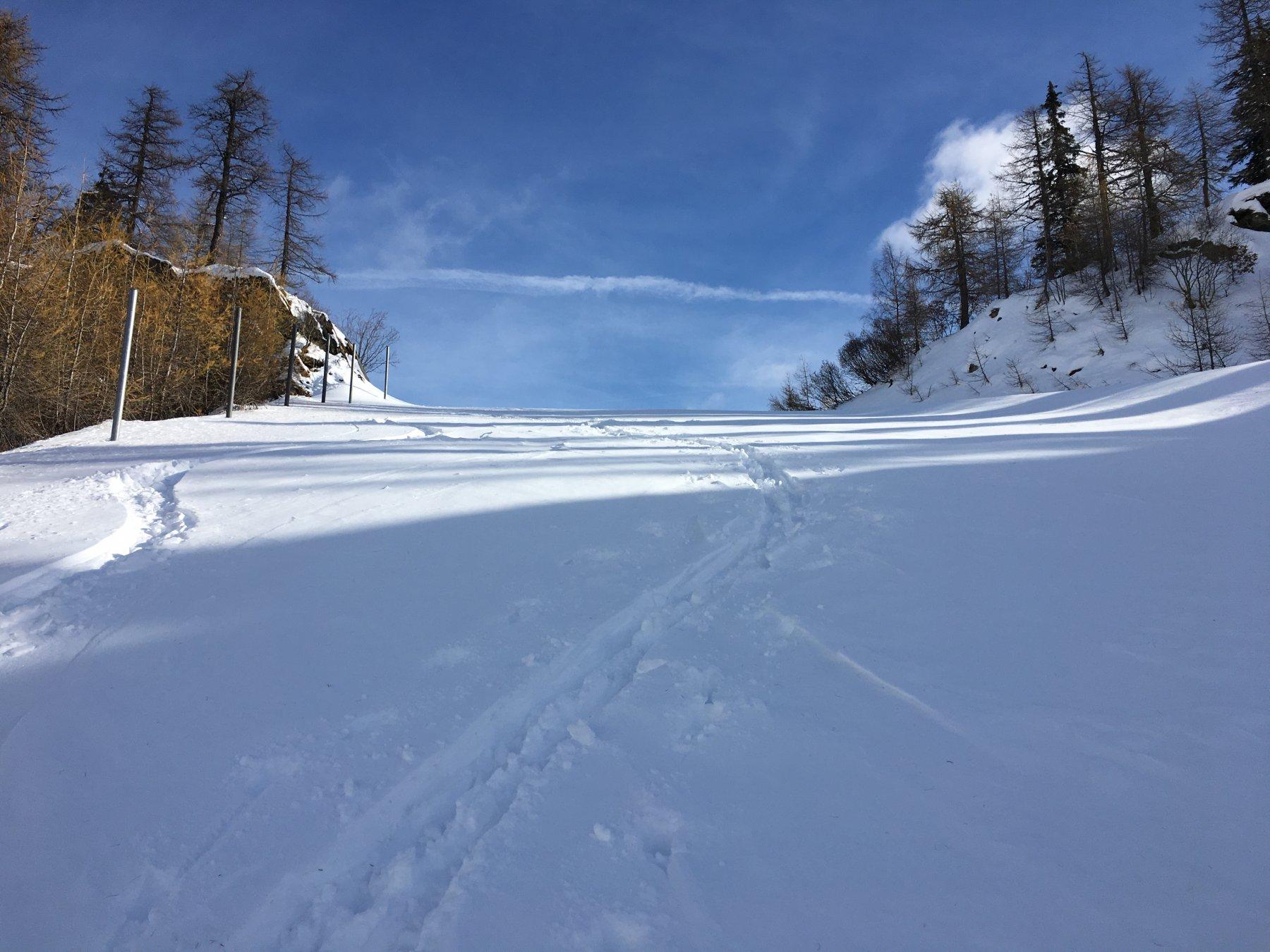 Ultimi passi per il Col Checrouit su neve ancora fresca