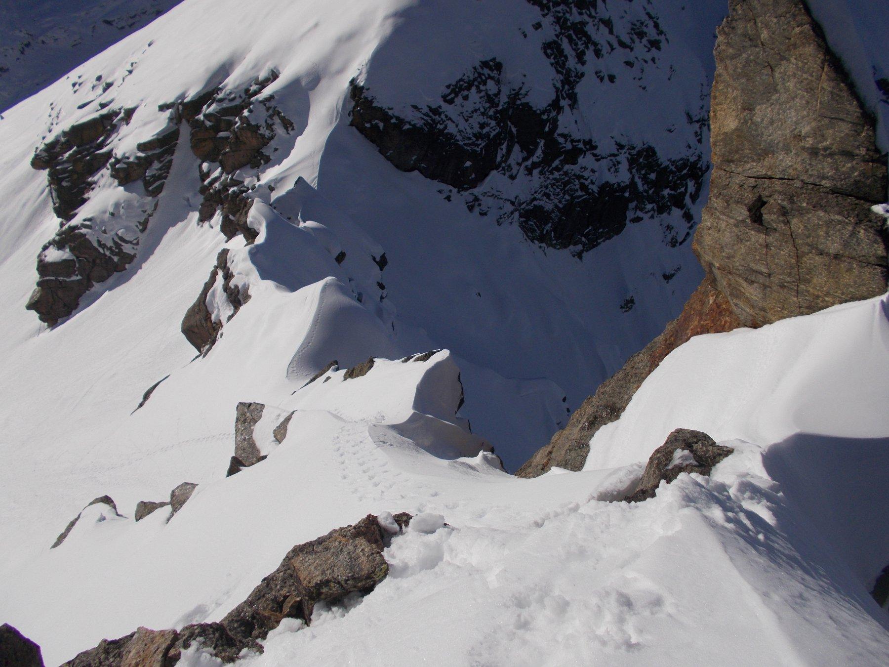 la cresta ovest del Tovo Piccolo da ridiscendere con cautela..