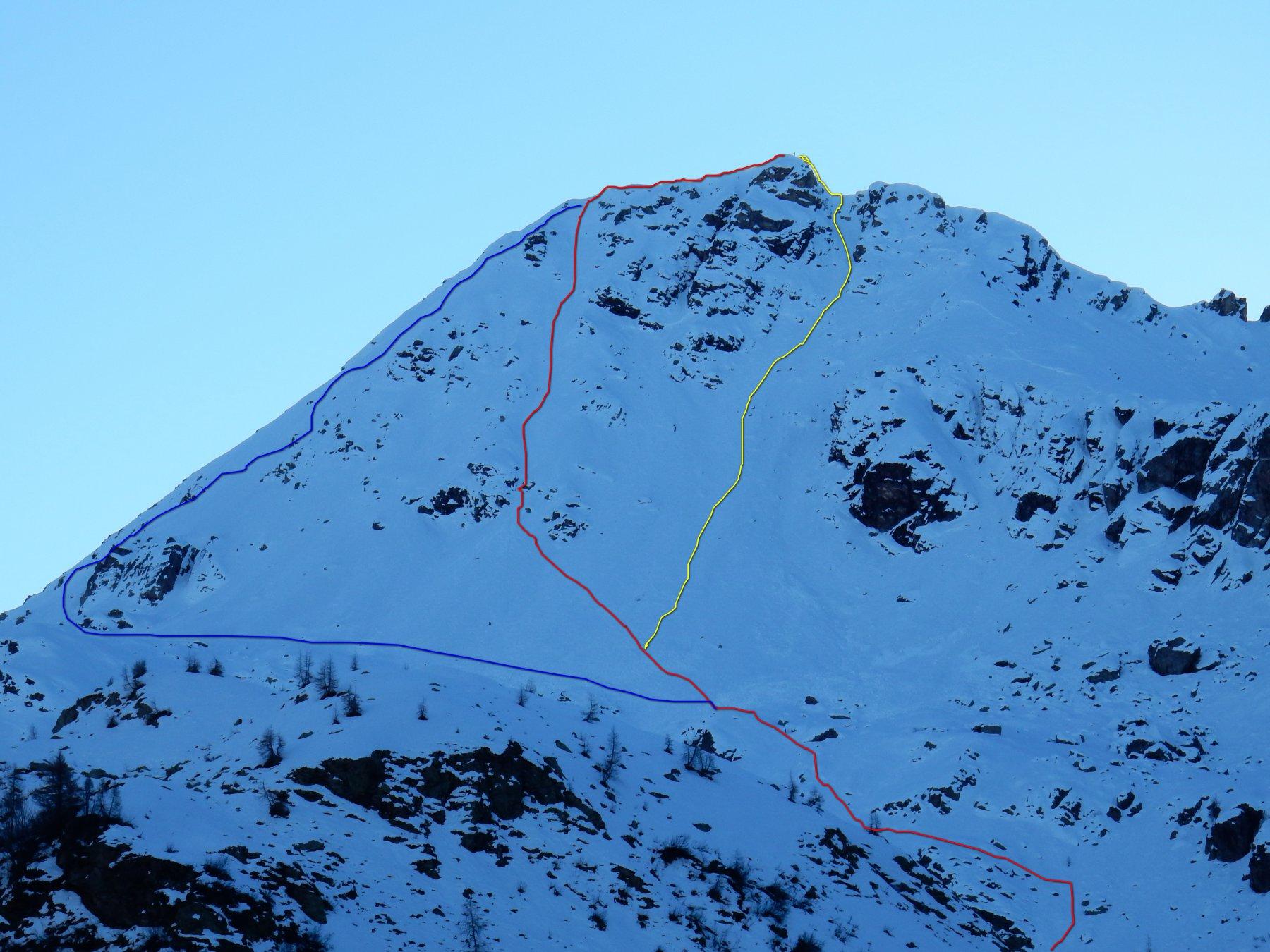 In blu la via normale di salita.In rosso il canale -rigola di salita.In giallo quello di discesa.