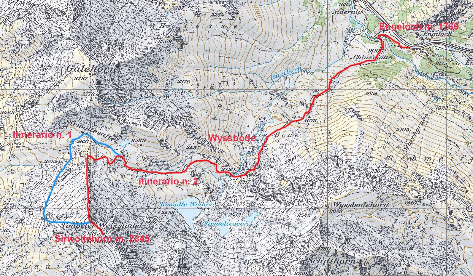 mappa CNS e itinerari di salita n. 1  e n. 2