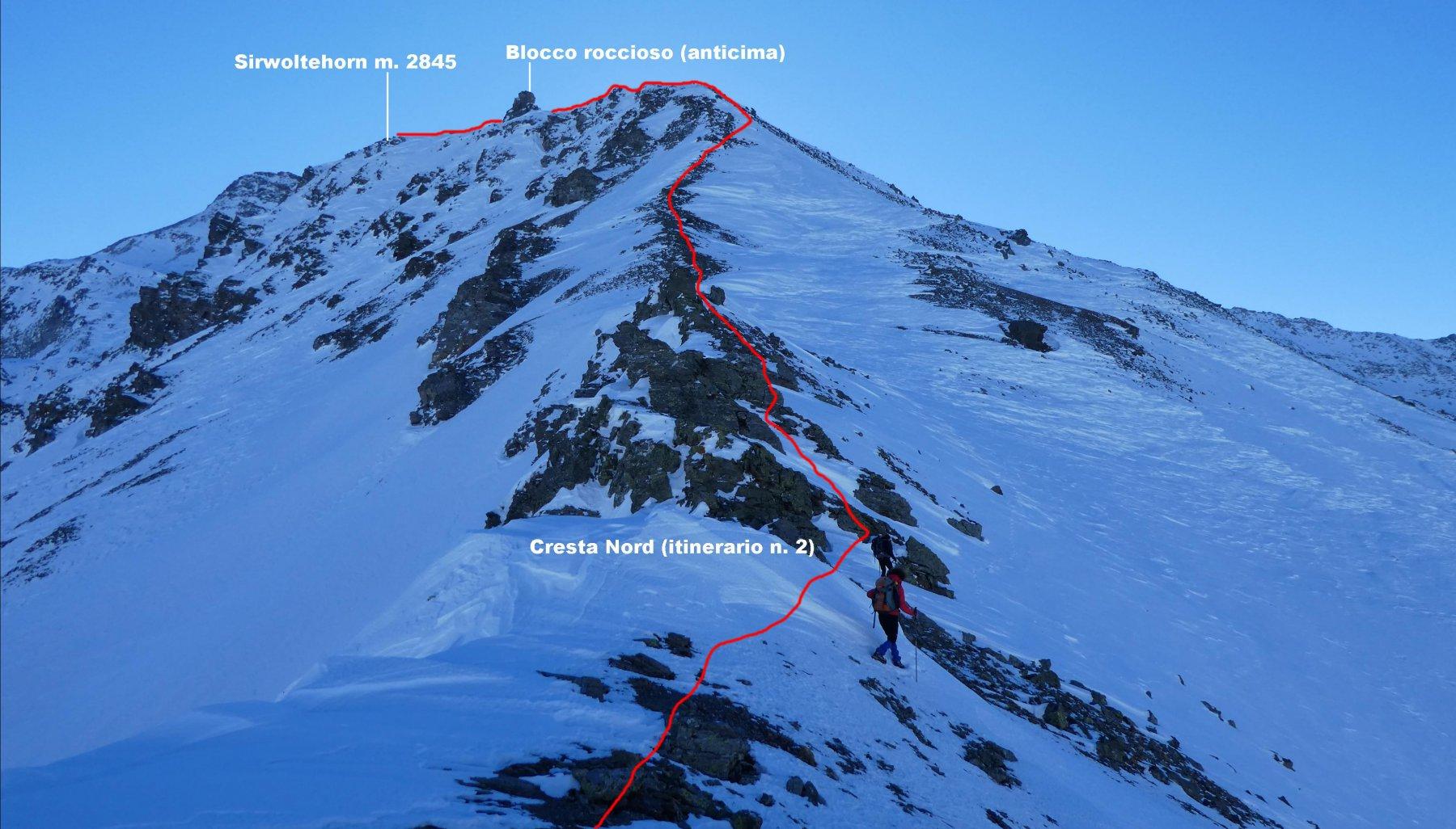 l'itinerario n. 2 che sale per la cresta Nord del Sirwoltehorn