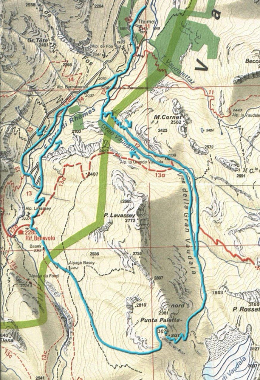 mappa dei possibili itinerari