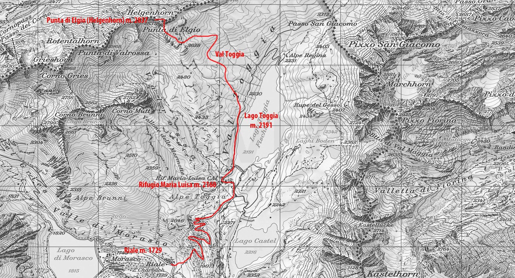 mappa CNS e via di salita alla cima