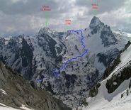 Itinerario Quota 2506 Rocca Meia cresta Nord, visto dal canale del Cassorso