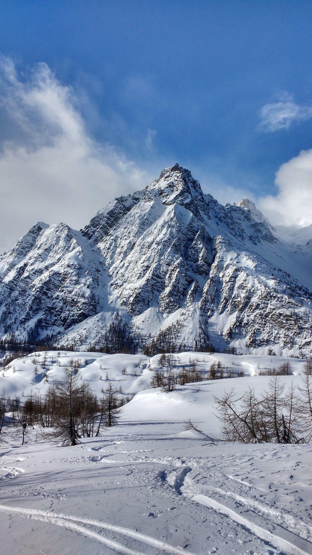 Neve fresca scendendo dalla cima.