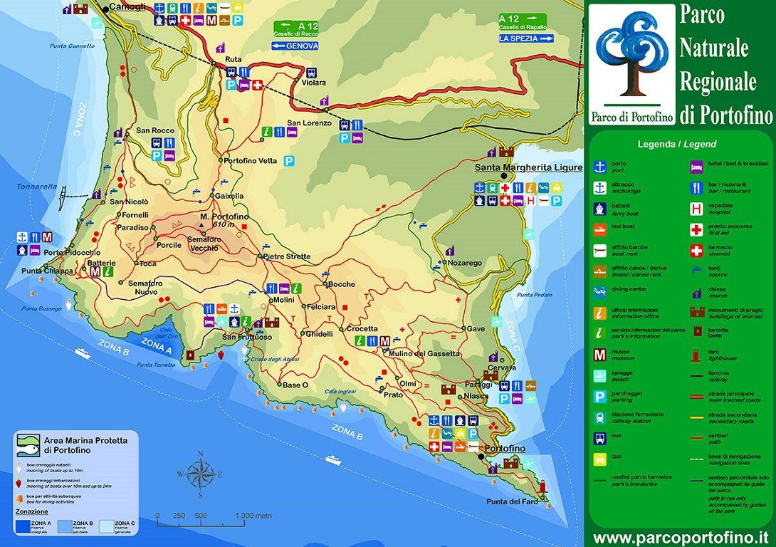 Cartina parco Portofino