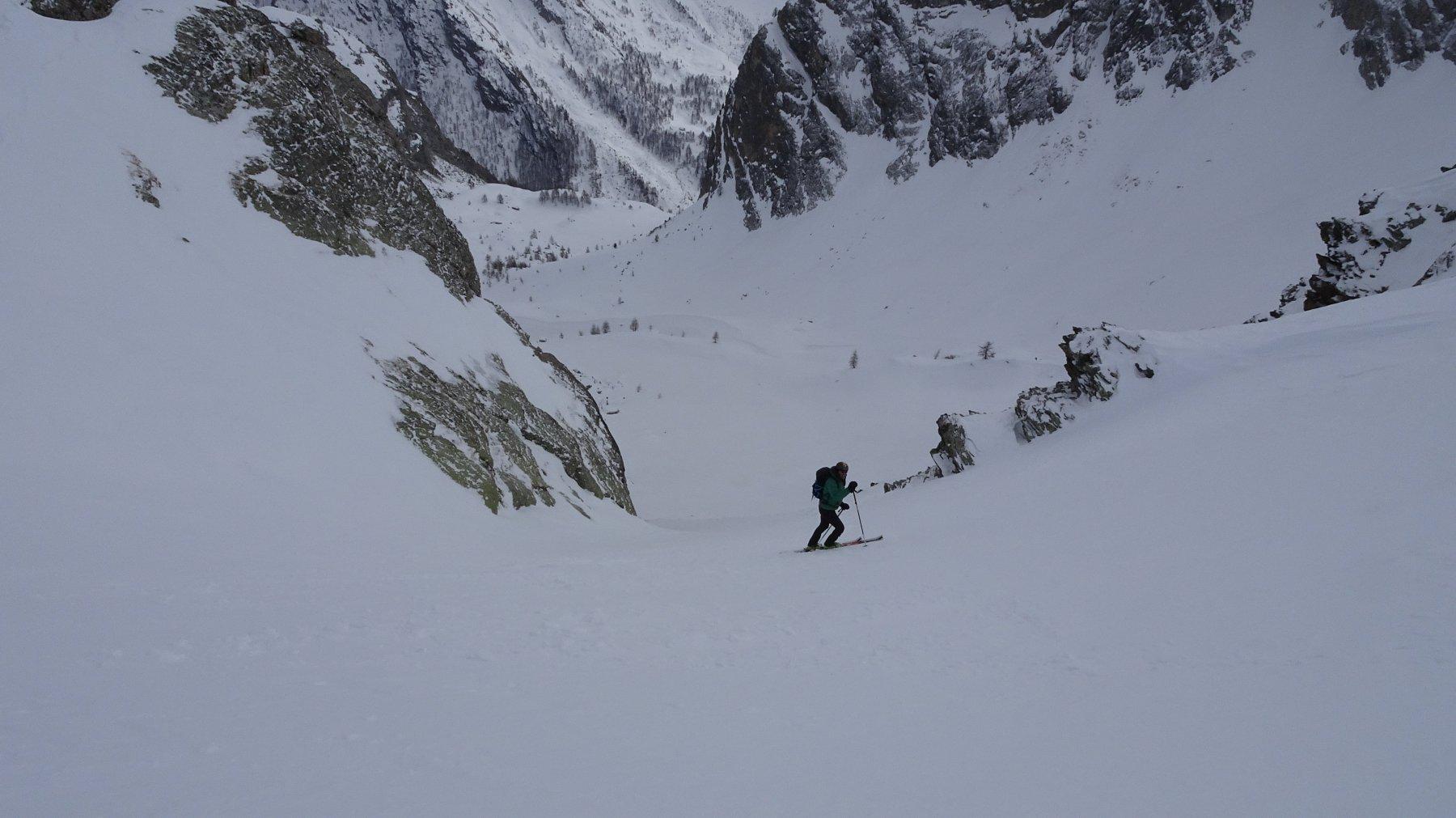 Parte iniziale , ripida e con neve impegnativa