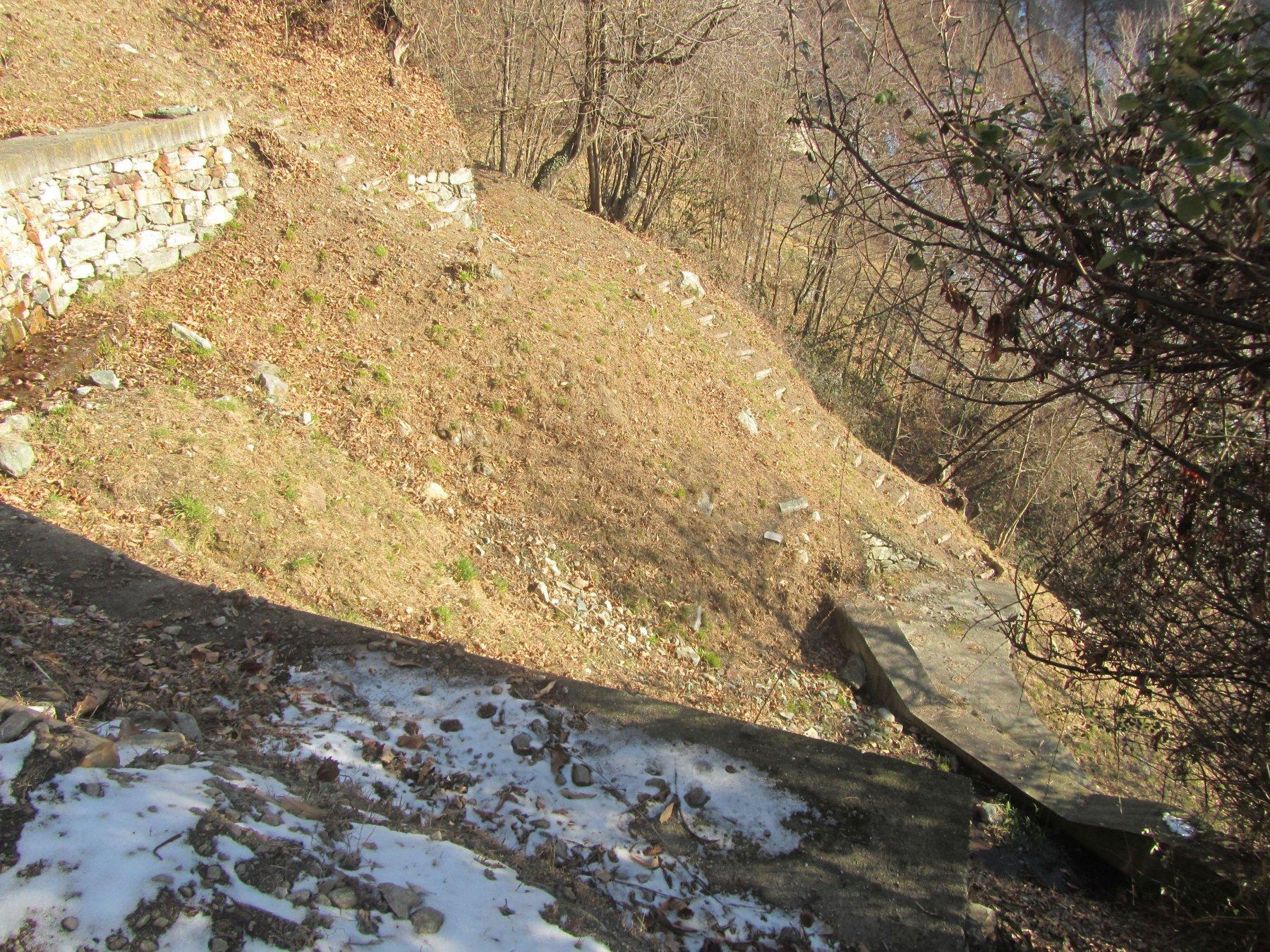 sentiero (interdetto) ma che permette di ritornare sulla strada oltre il rio