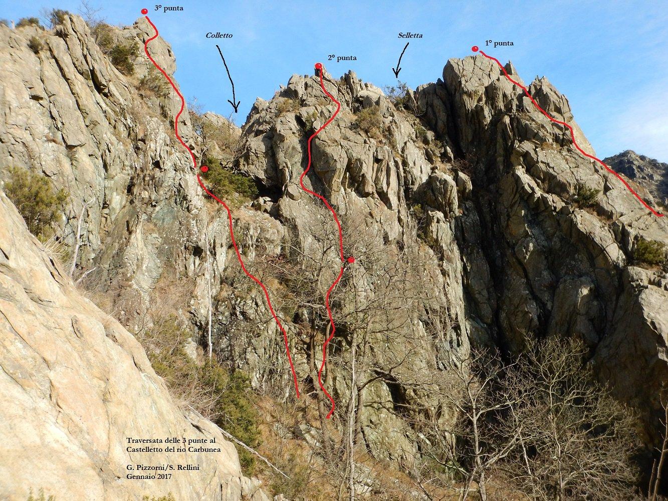 Rama (Monte) Traversata delle 3 punte (versante SO al Castelletto del Rio Carbunea) 2017-01-21