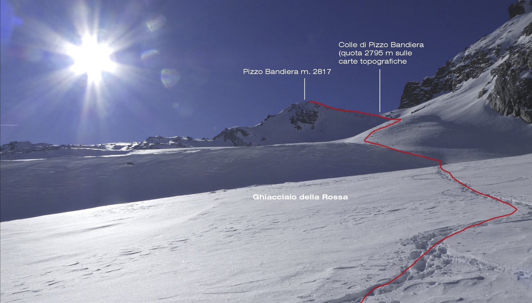 la parte alta dell'itinerario di salita per raggiungere la cima