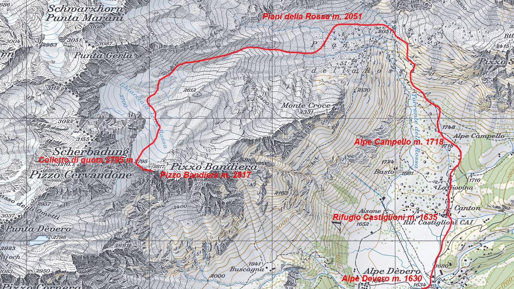 mappa CNS e itinerario di salita per la cima
