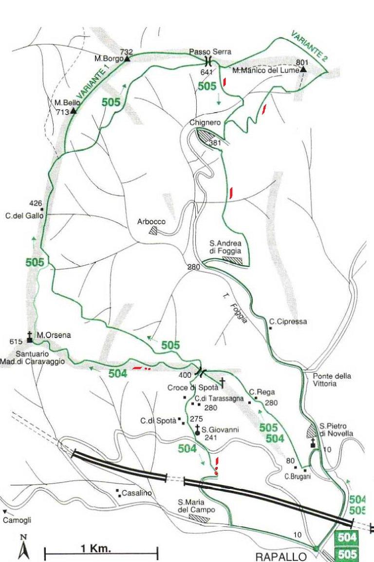 Cartina con itinerario parziale