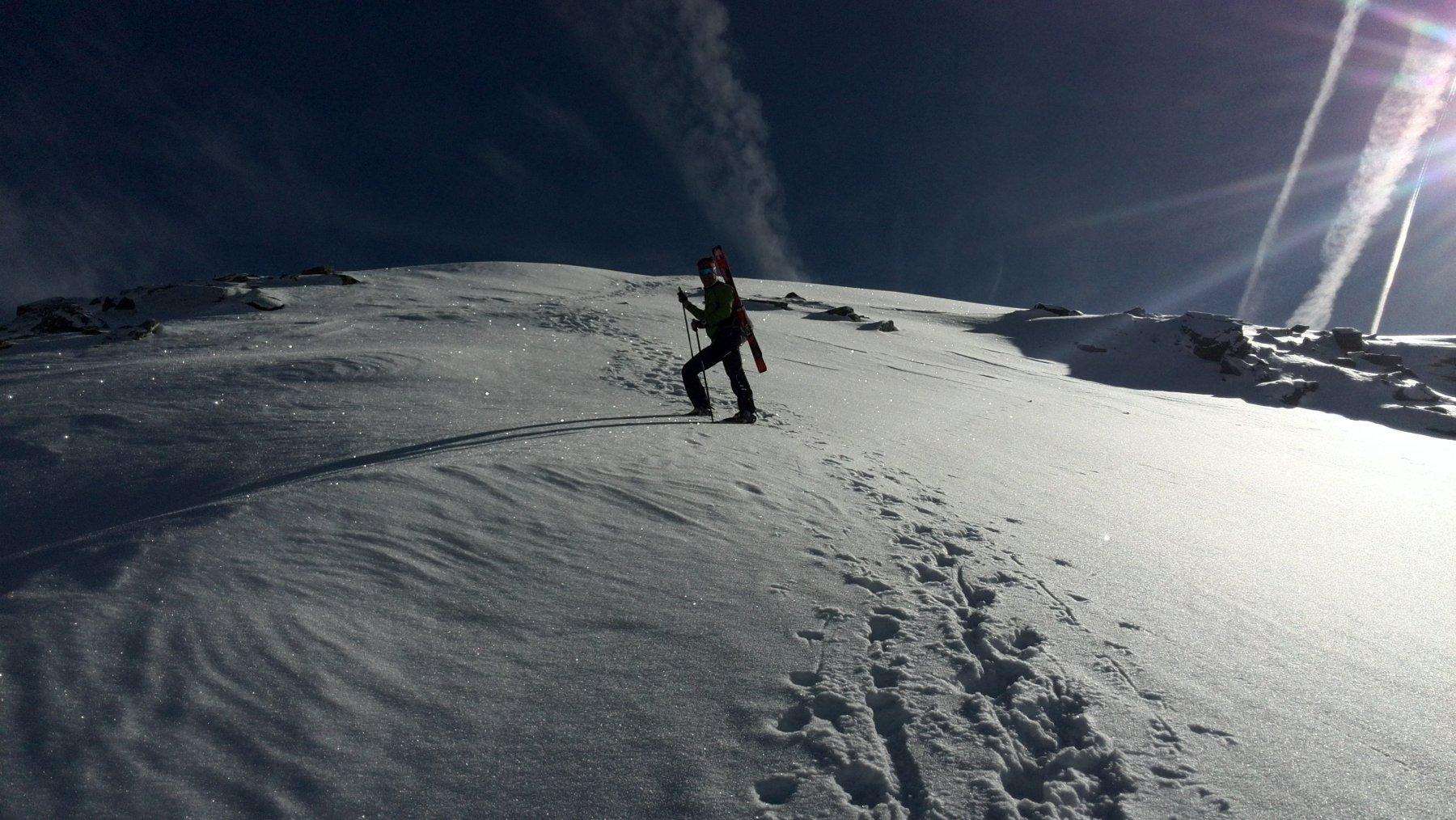 Ultimi metri di cresta per raggiungere il mont flassin