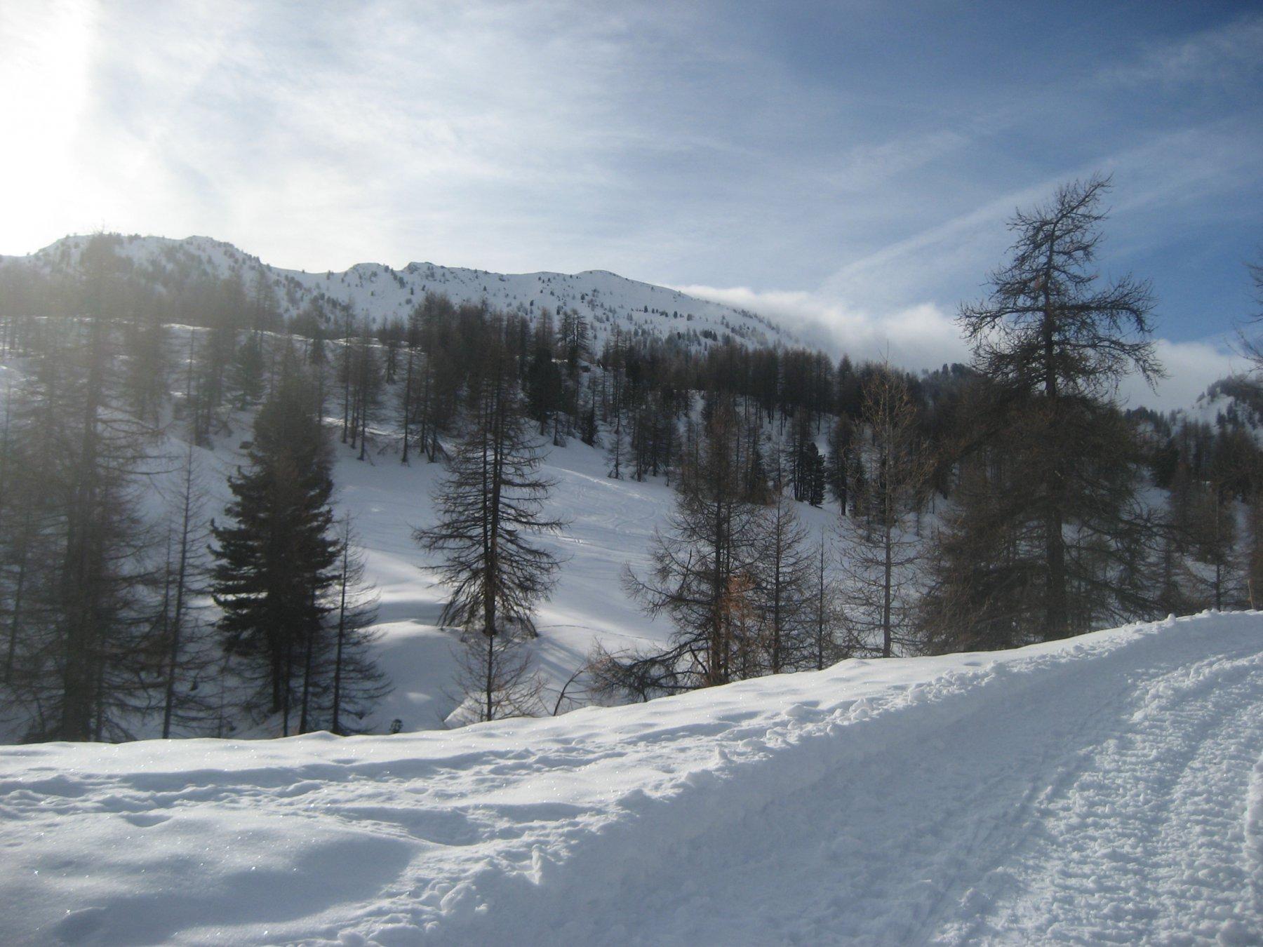 La strada arata dai cingolati dell'esercito, con la cima che e` circondata dalla nebbia