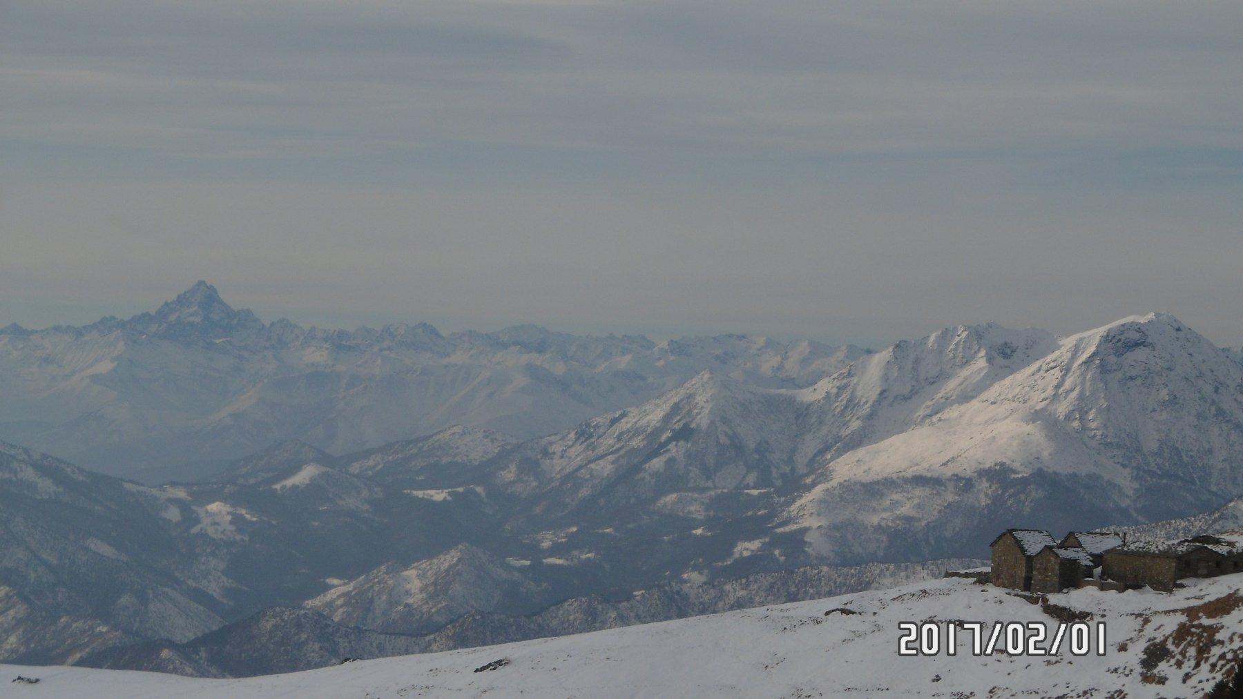 Panorama invernale dal rifugio Peretti-Griva
