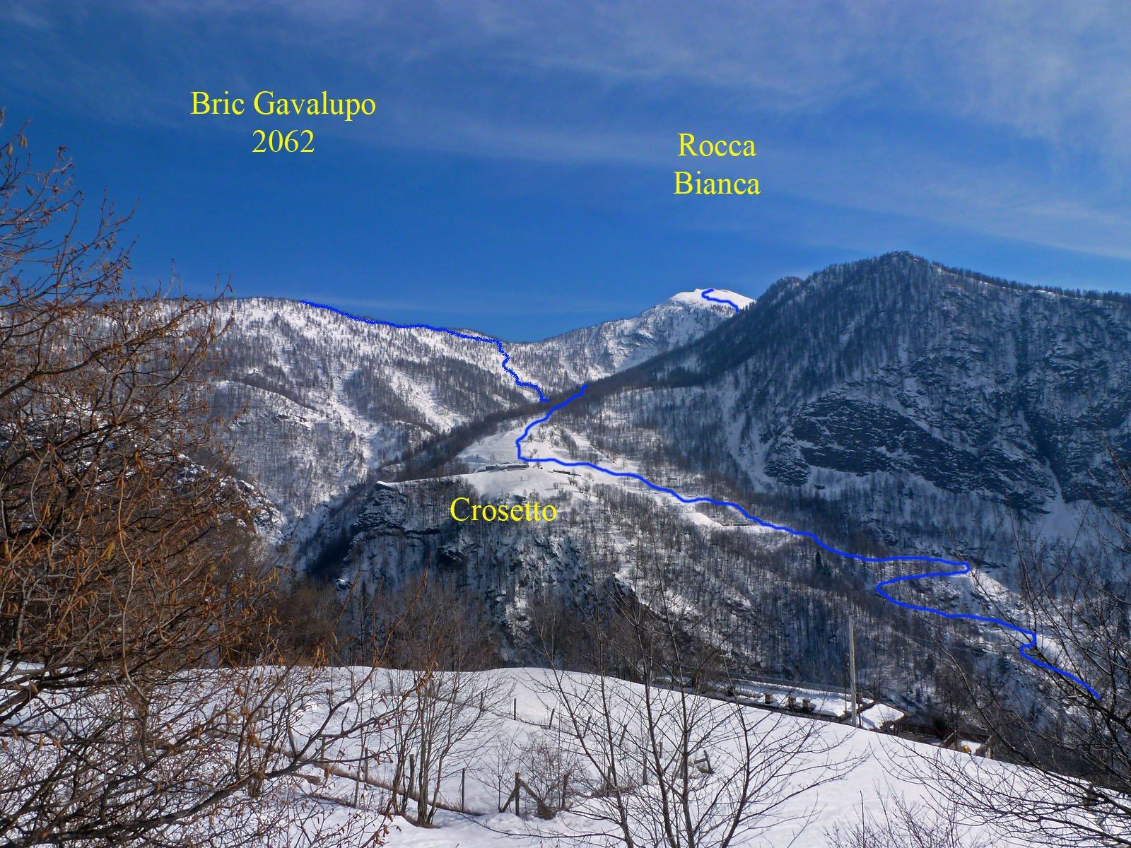 Itinerari per Bric Gavalupo e Rocca Bianca da Crosetto