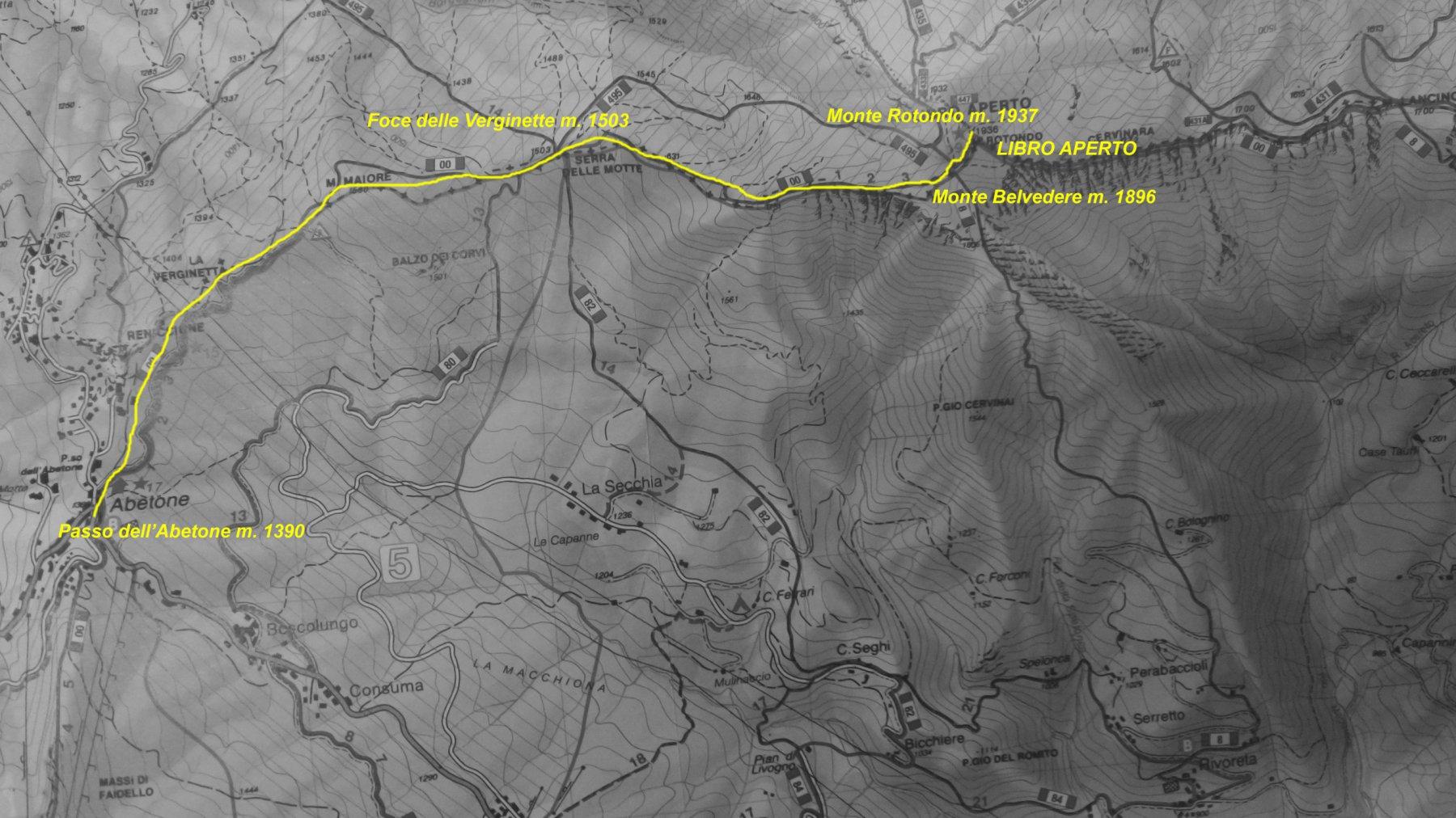 mappa presa dalla carta Appennino Modenese del CAI Modena con l'itinerario di salita