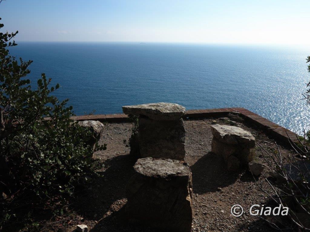 La balconata a picco sul mare all'Eremo del Capitano D'Albertis