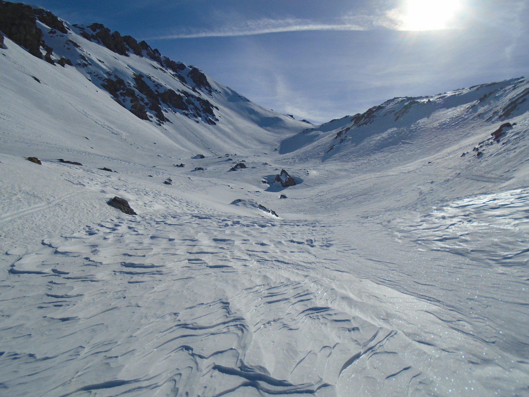 Seconda conca, Passo Vanclava, pendio-cresta per la vetta a sx