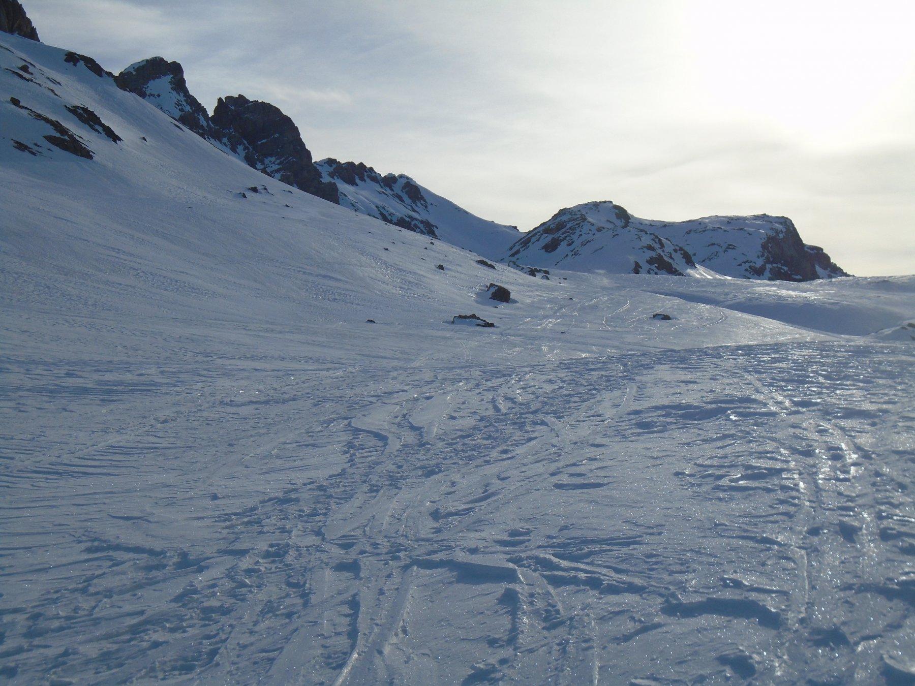 Sponda dx del Lac d'Oronaye; laggiù in fondo il Vanclava