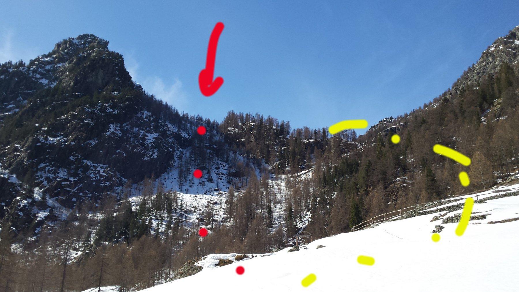 in giallo il sentiero estivo per salire all'a. Vercoche (in rosso da dove sono sceso per trovar neve continua)