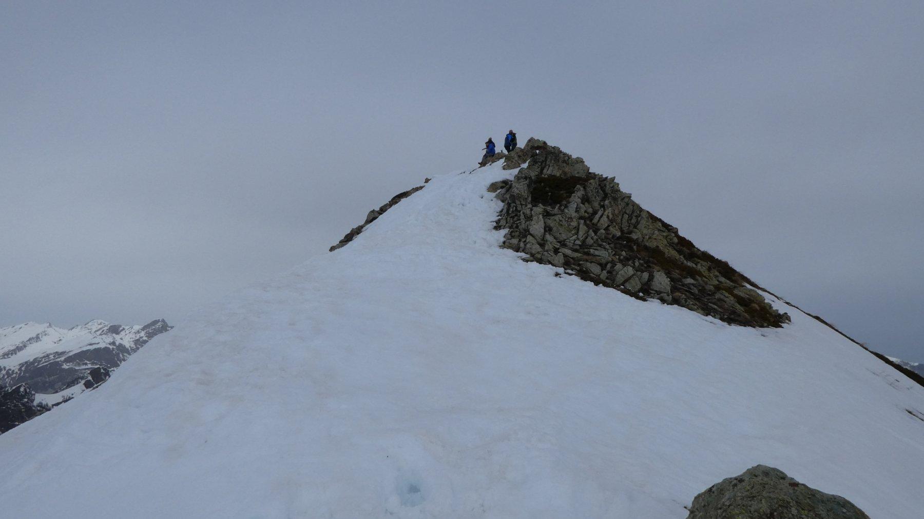 ultimo tratto di facile cresta per raggiungere la cima