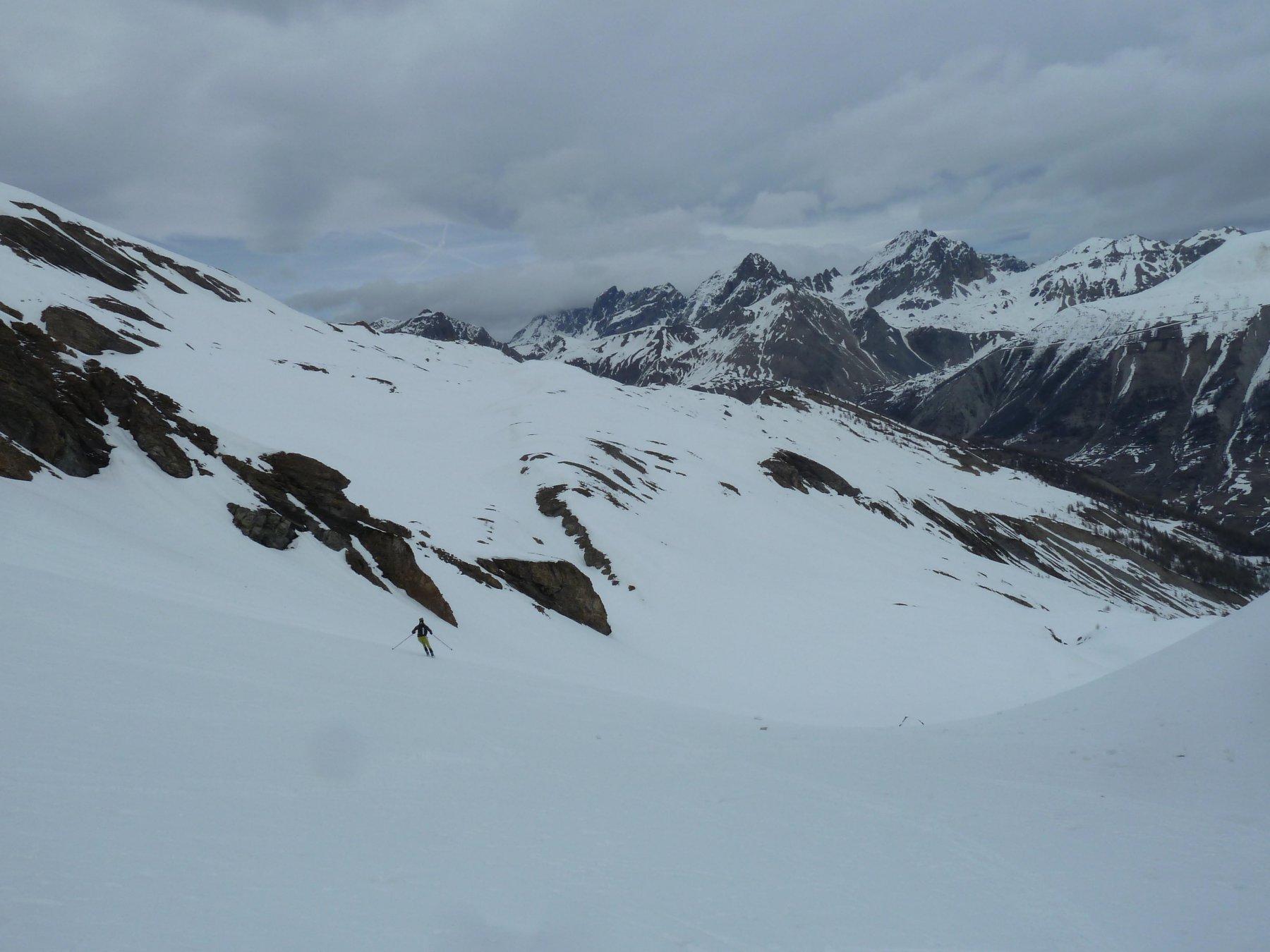 poca neve sui versanti a sud sopra Larche