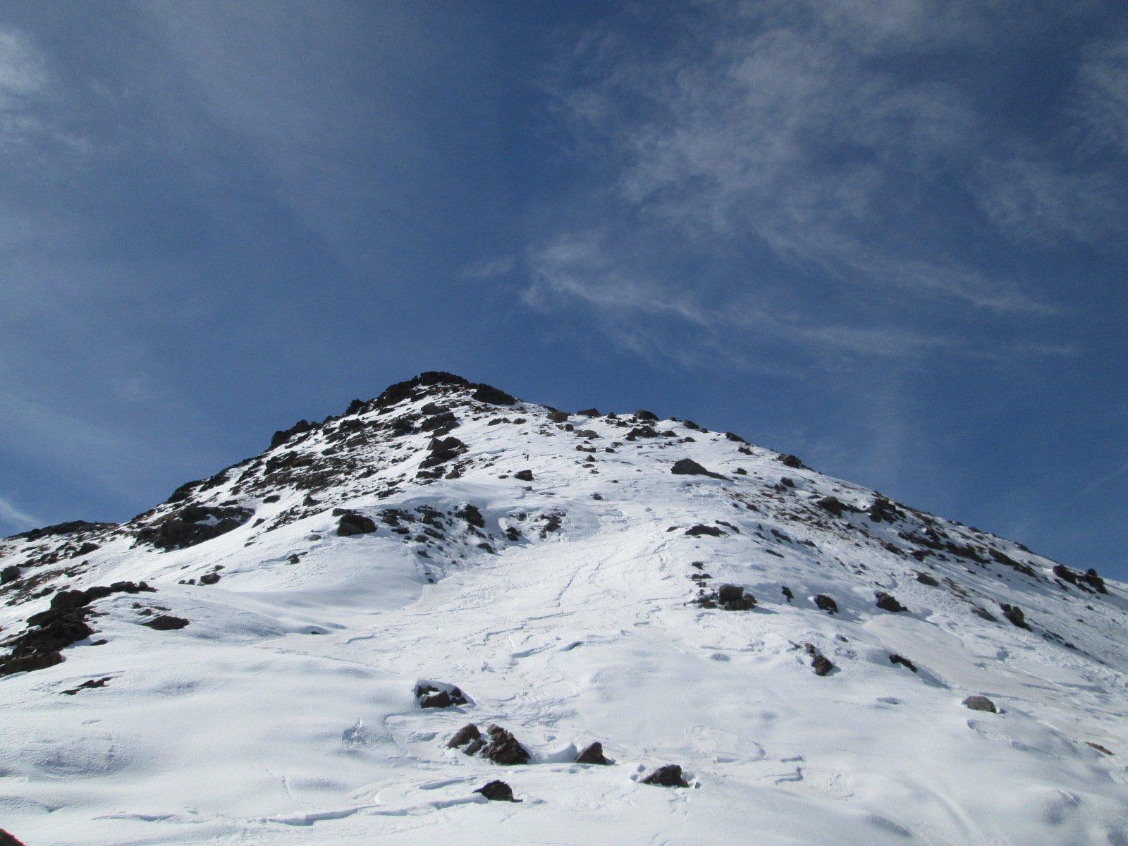 tratto finale con poca neve ma sufficiente per salire e scendere