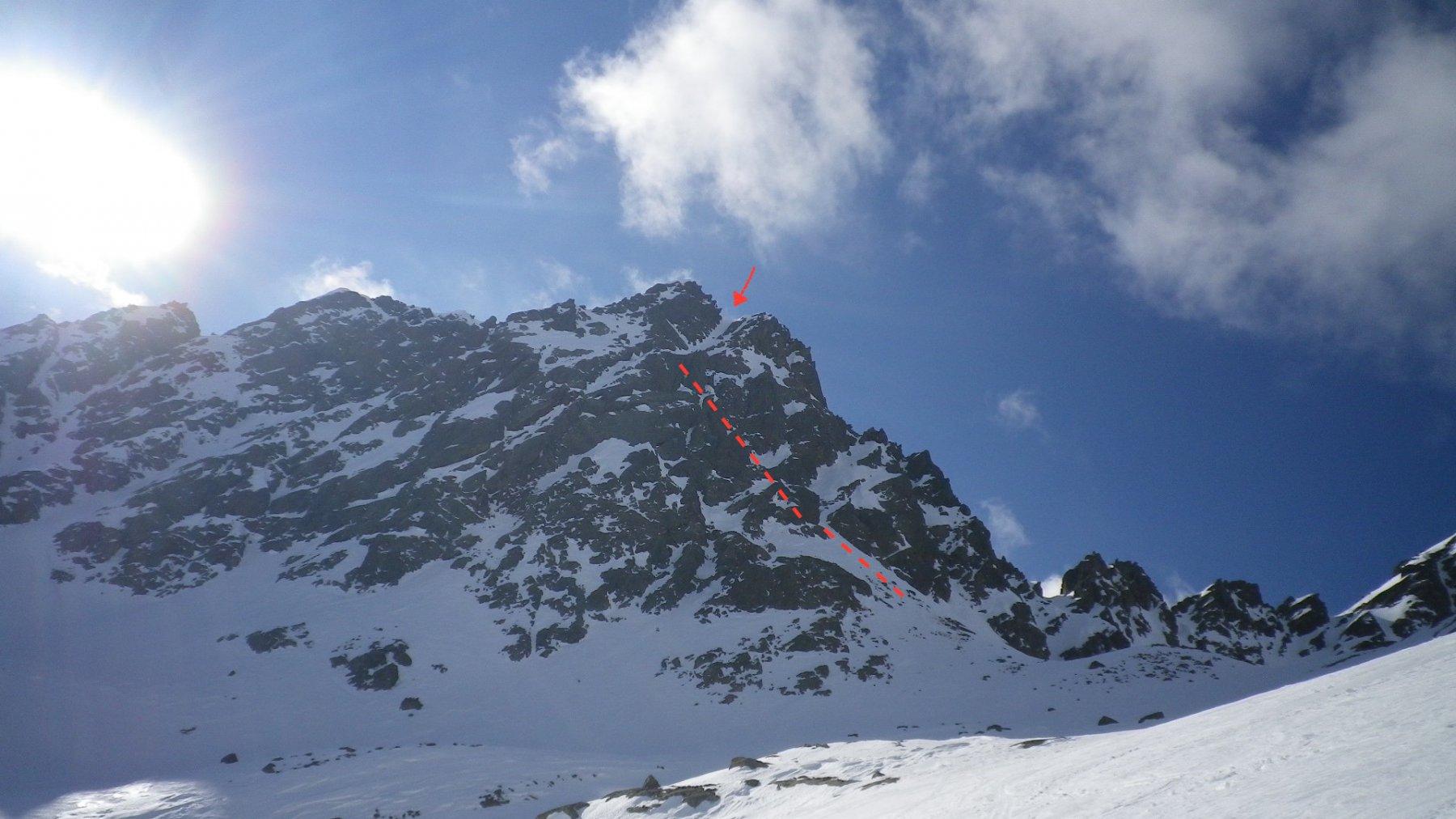 Dai 2600 mt, si vede la parte alta. Nascosta dalle rocce la parte bassa sopra la conoide