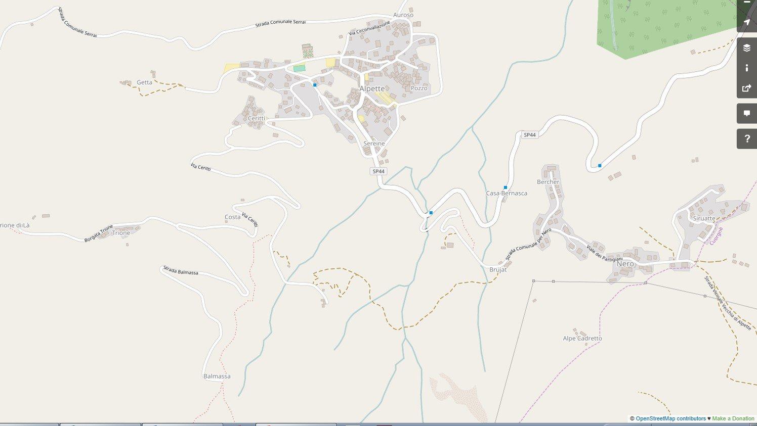 Balmassa, cartina stradale