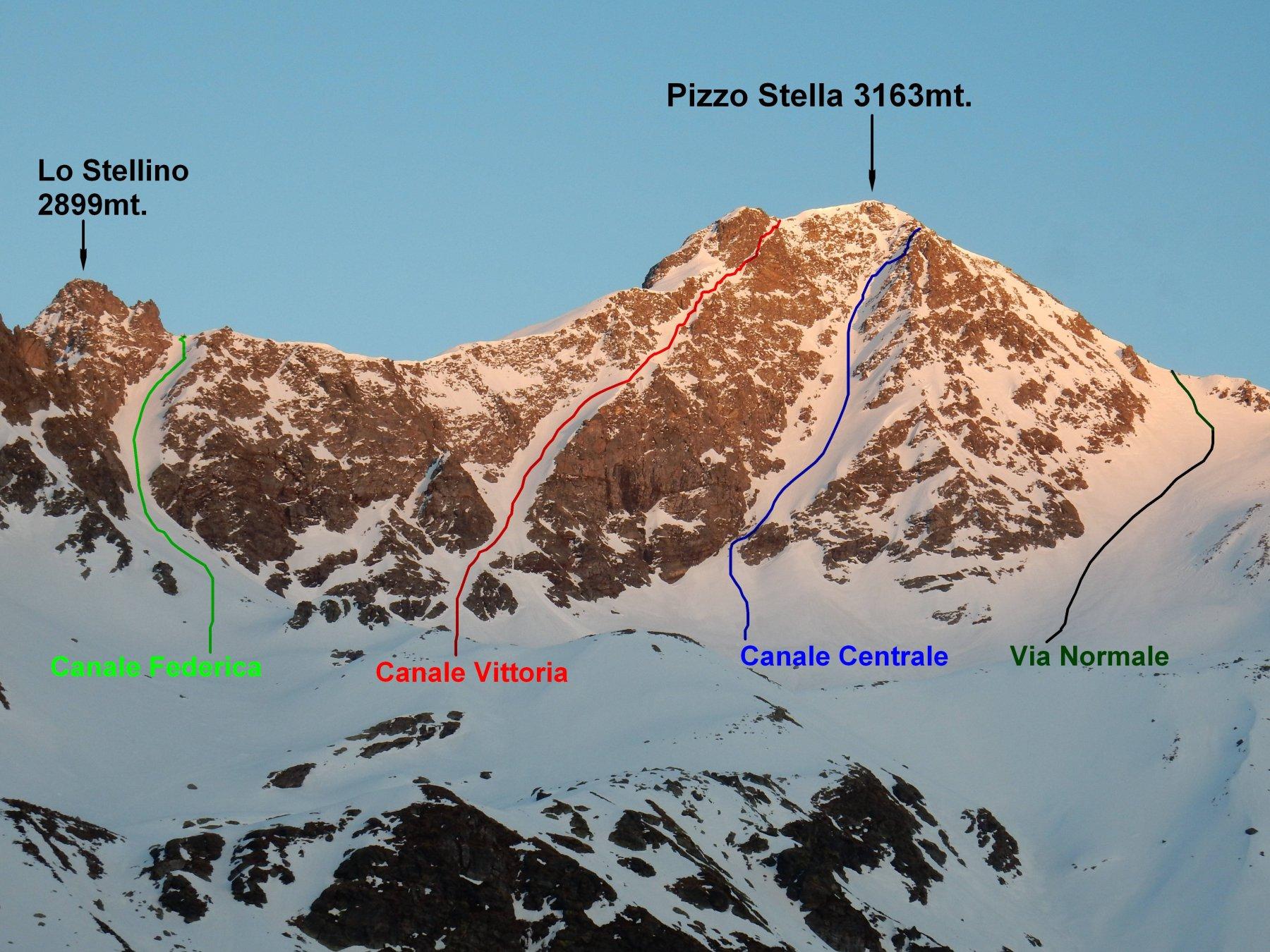 Zoomata sulle vie di salita del Pizzo Stella 3163mt.