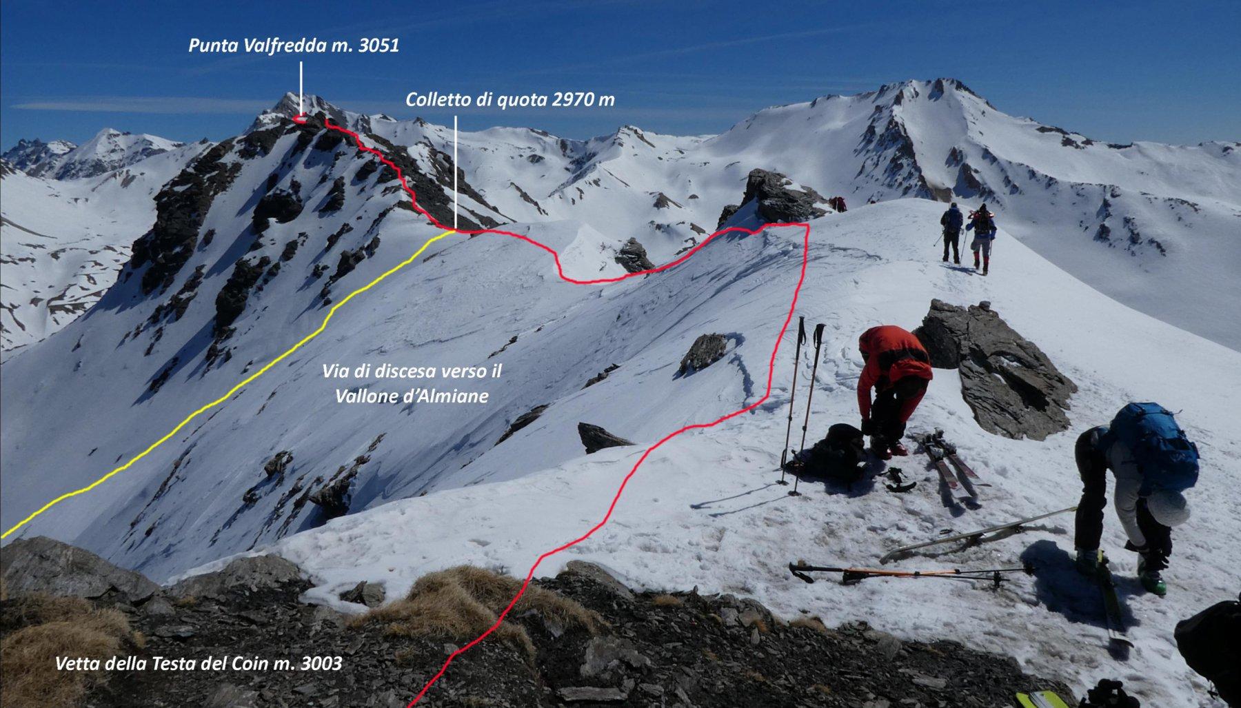 il percorso di cresta visto dalla vetta della Testa del Coin
